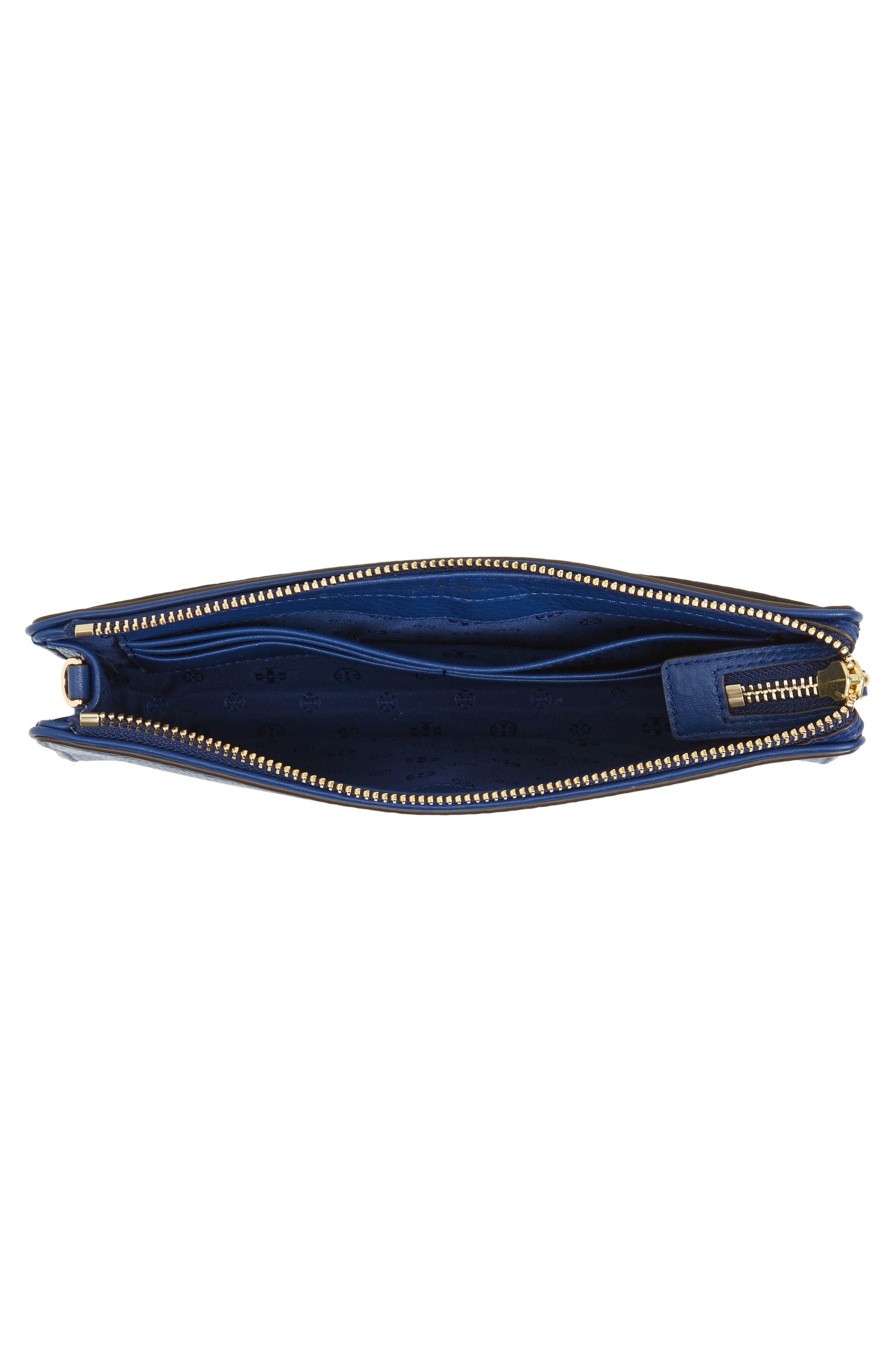 Marsden Leather Wallet Crossbody Bag,                             Alternate thumbnail 4, color,                             FRESH BLUEBERRY