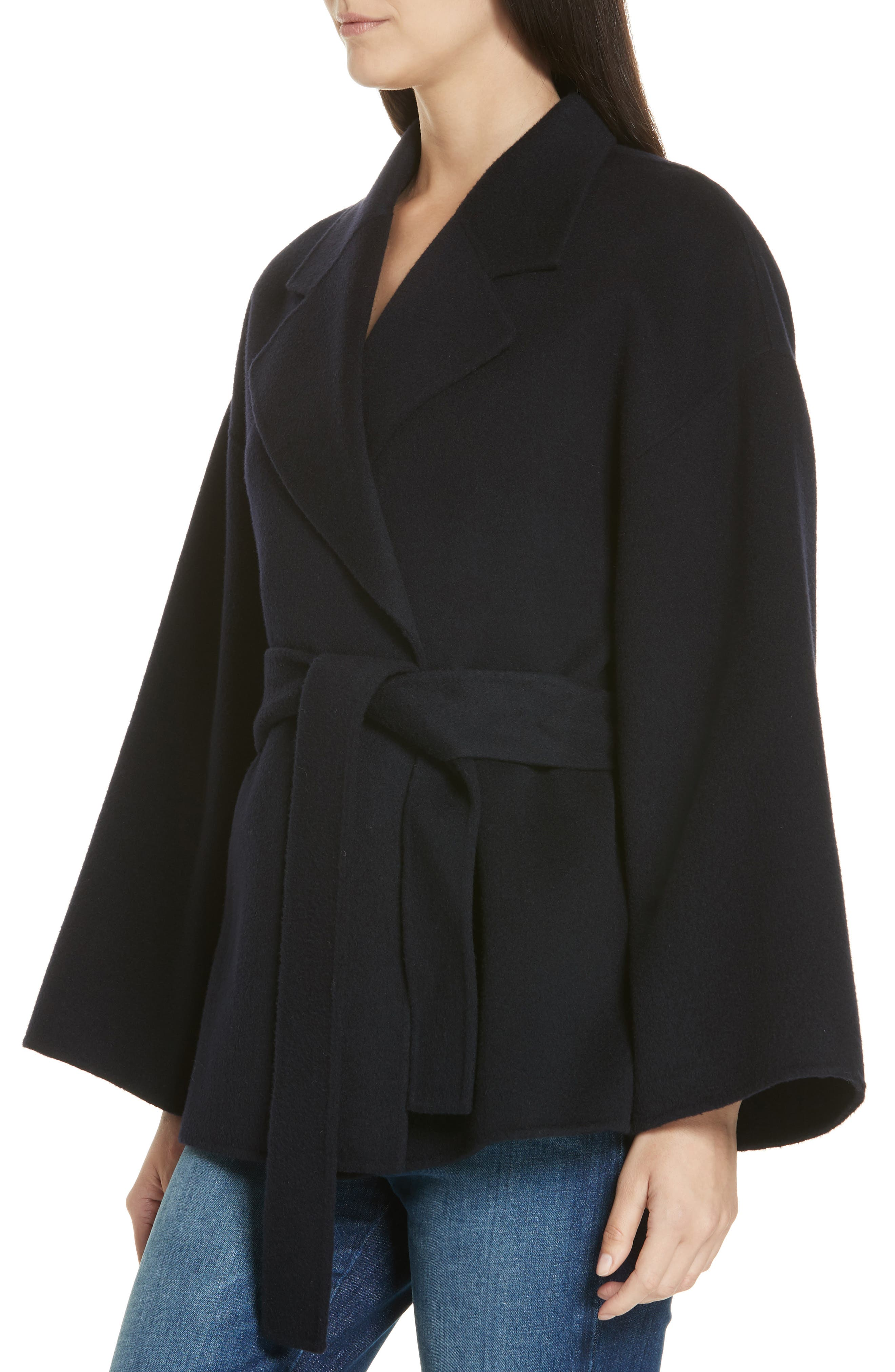 Wool & Cashmere Belted Jacket,                             Alternate thumbnail 4, color,                             400
