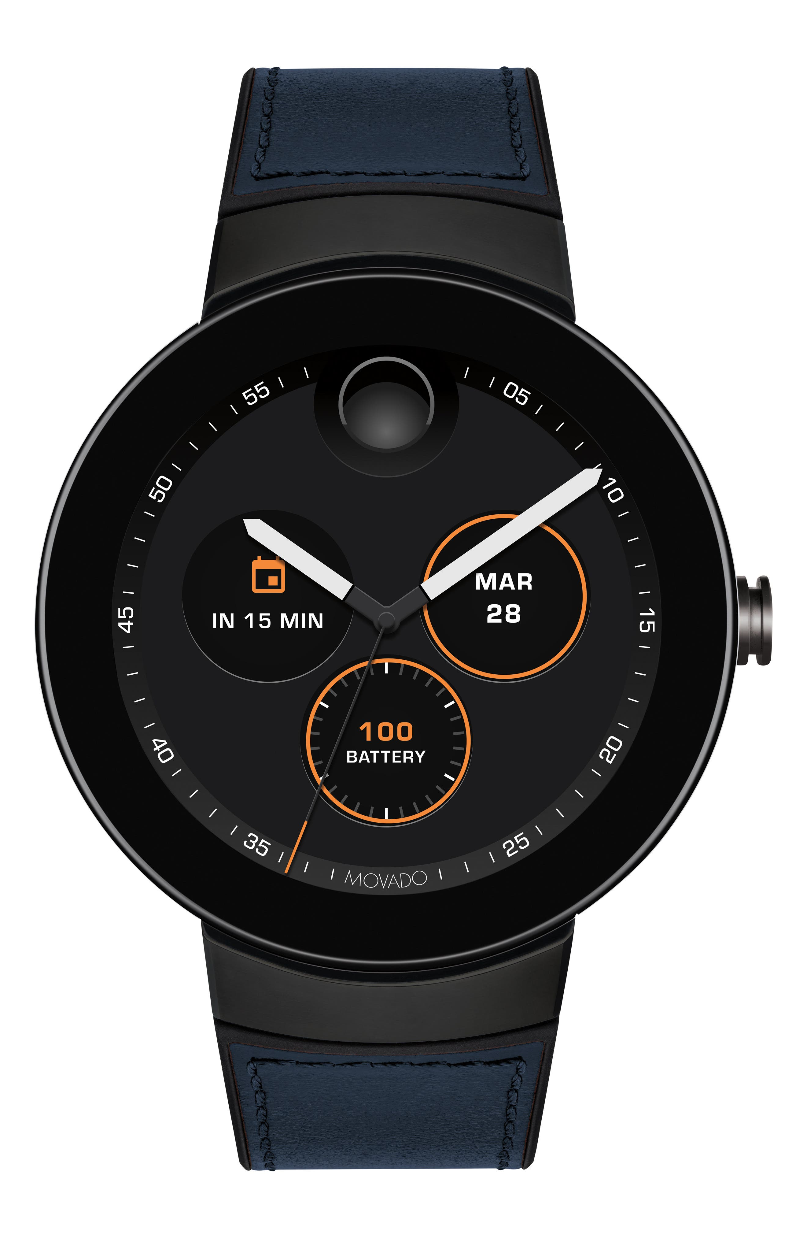 Connect Silicone & Leather Strap Smart Watch, 44mm,                             Alternate thumbnail 5, color,                             NAVY/ BLACK/ GUNMETAL