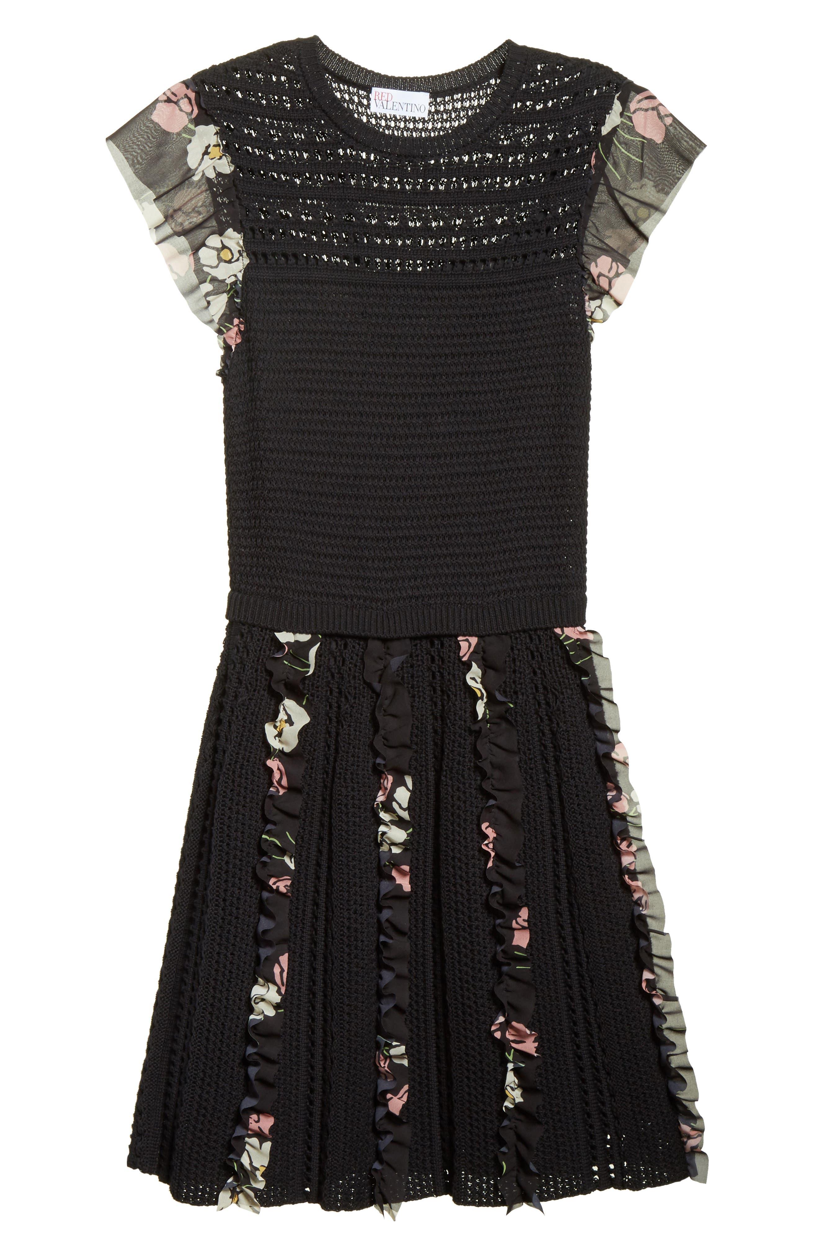 Ruffle Crochet Dress,                             Alternate thumbnail 6, color,                             001