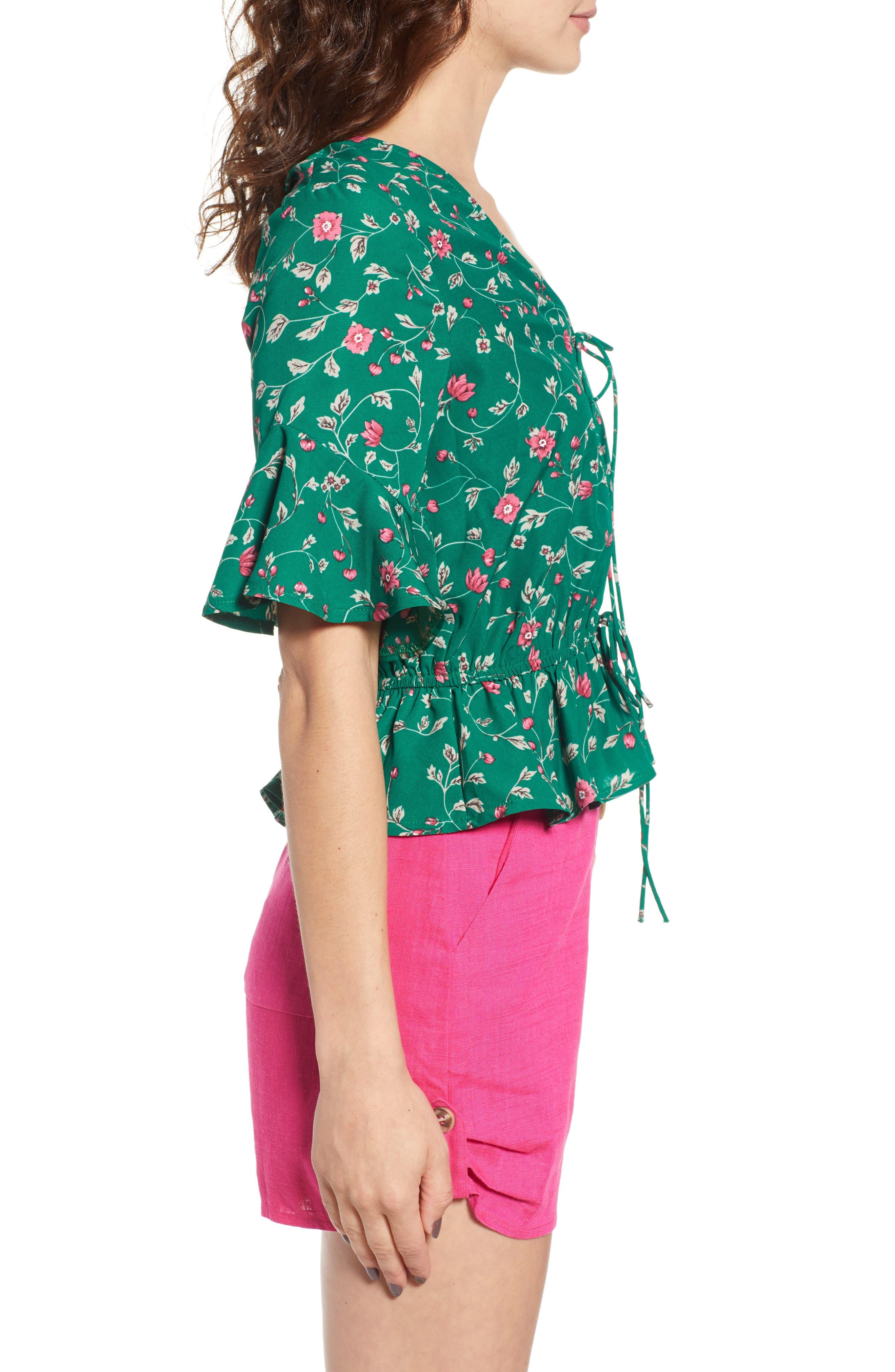 Floral Tie Front Peplum Top,                             Alternate thumbnail 3, color,                             300