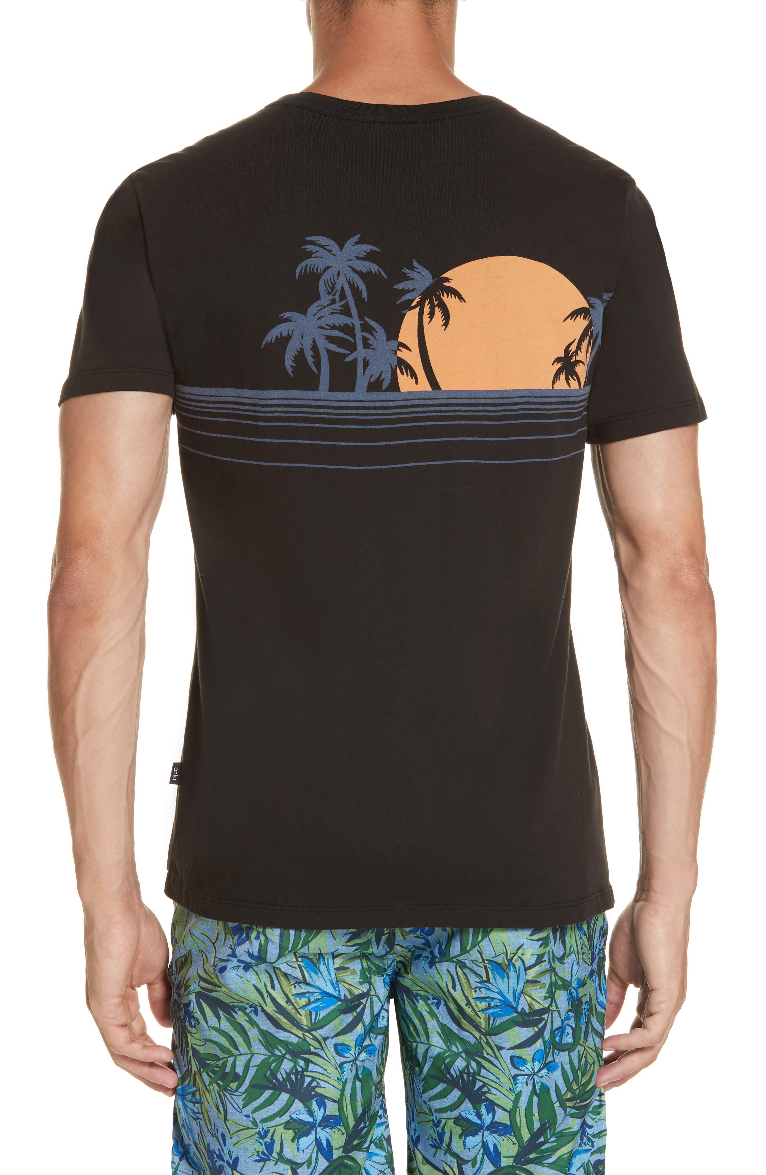 Johnny Chest Palm Stripe Graphic T-Shirt,                             Alternate thumbnail 2, color,                             BLACK