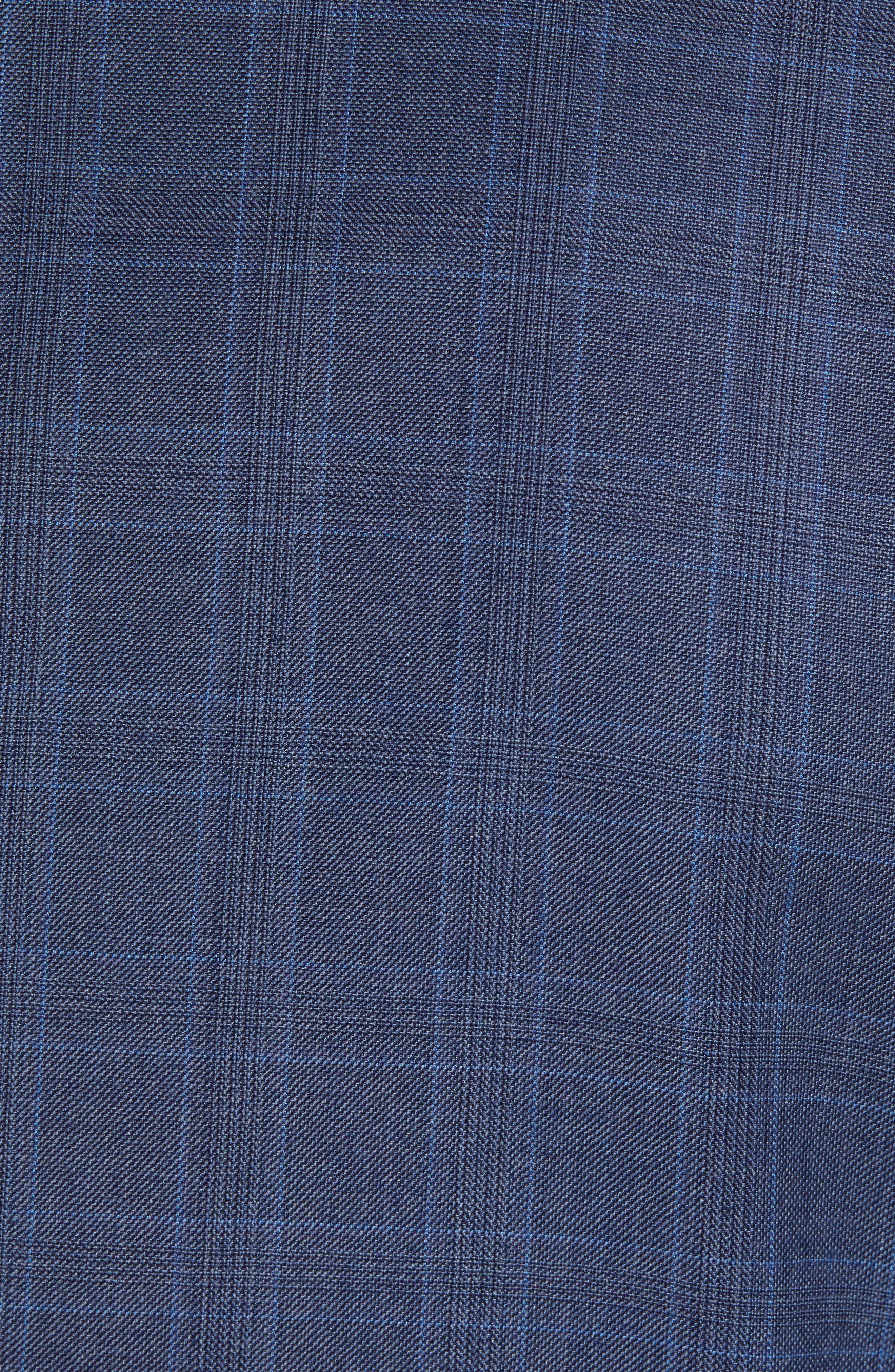 New York Classic Fit Plaid Wool Suit,                             Alternate thumbnail 7, color,                             MED BLUE