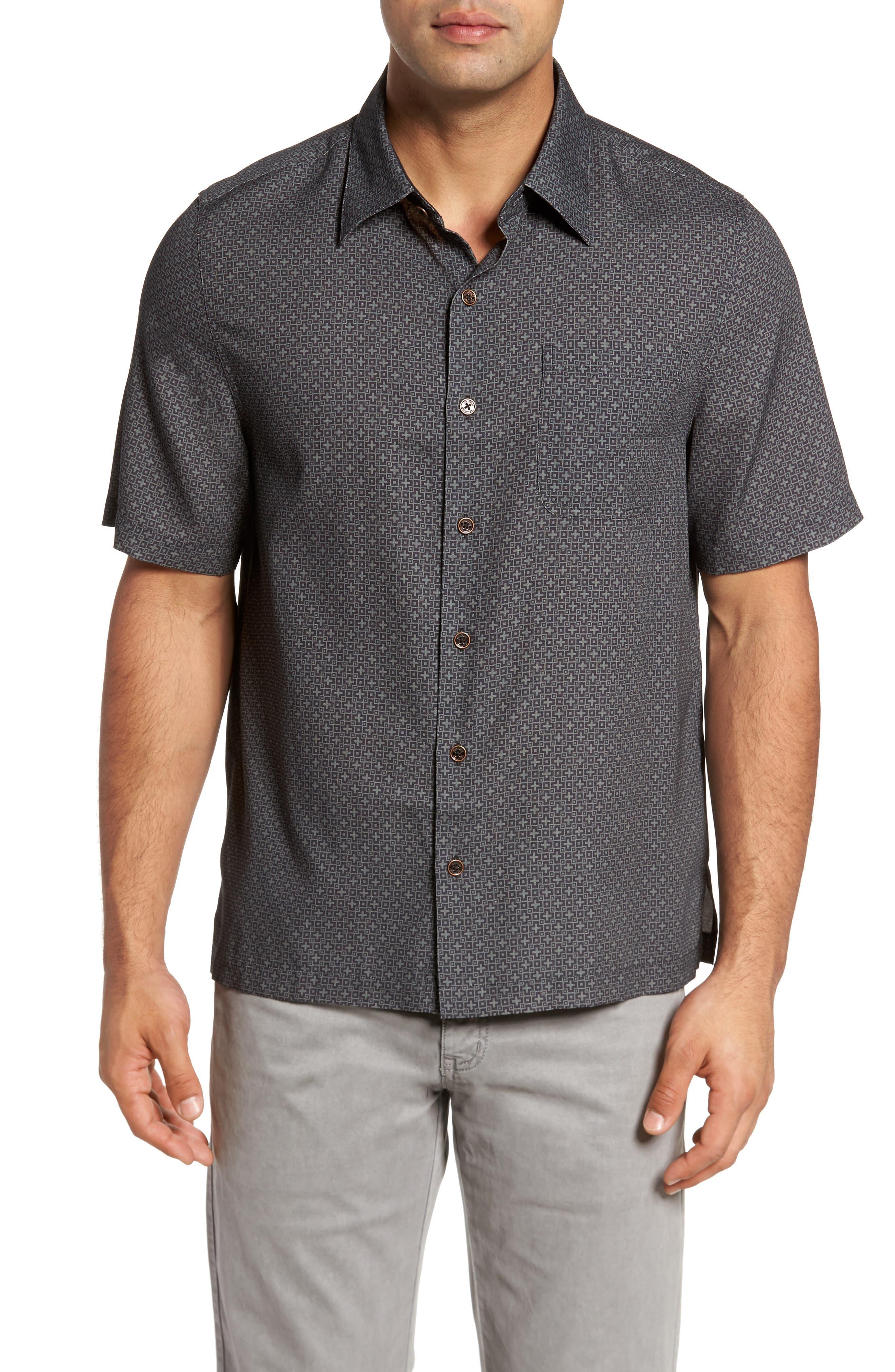 Everest Print Silk Blend Sport Shirt,                         Main,                         color, 001