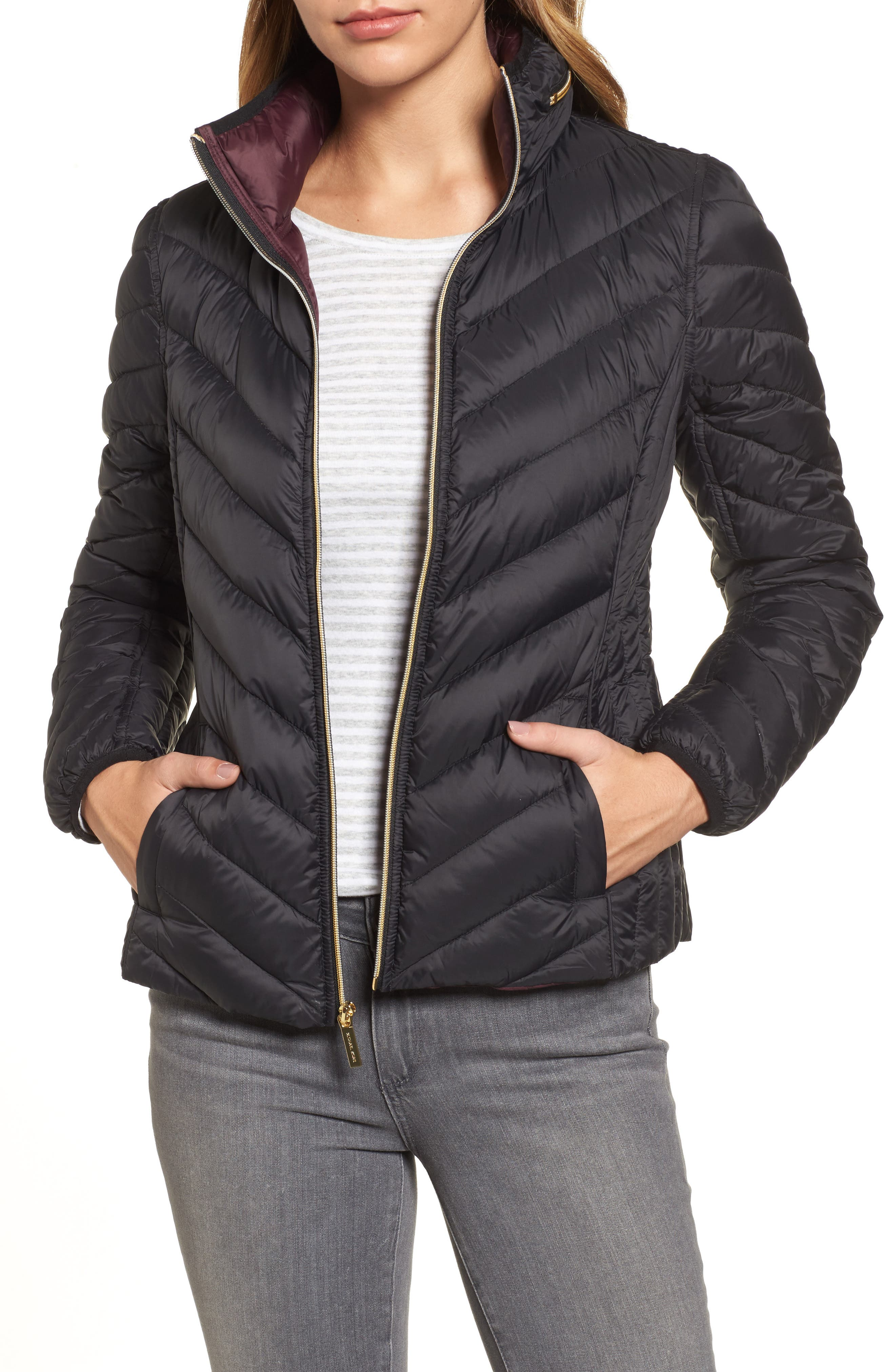 Chevron Quilted Packable Down Puffer Jacket with Stowaway Hood, Main, color, 001