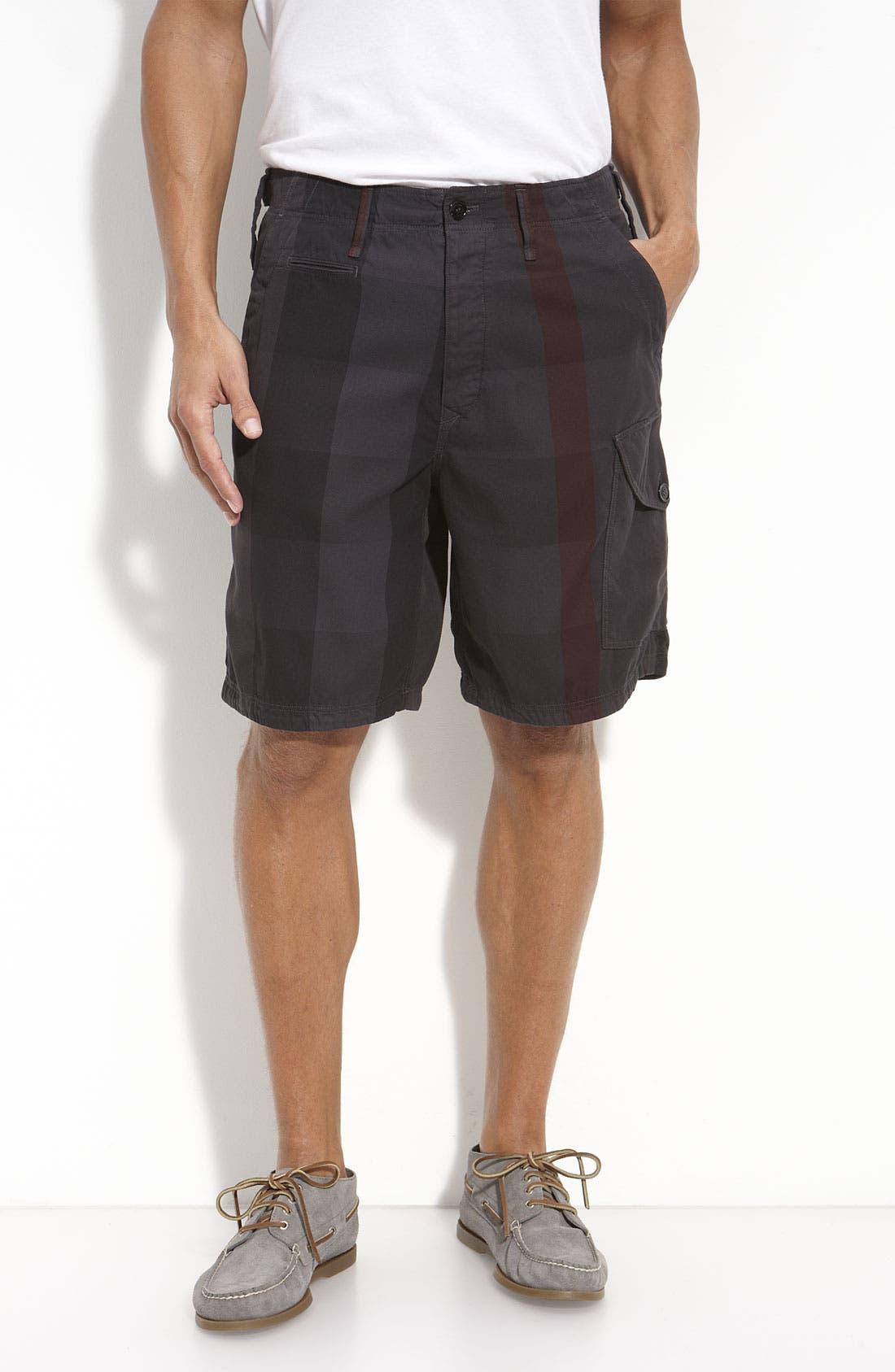BURBERRY,                             Brit Check Print Shorts,                             Main thumbnail 1, color,                             020