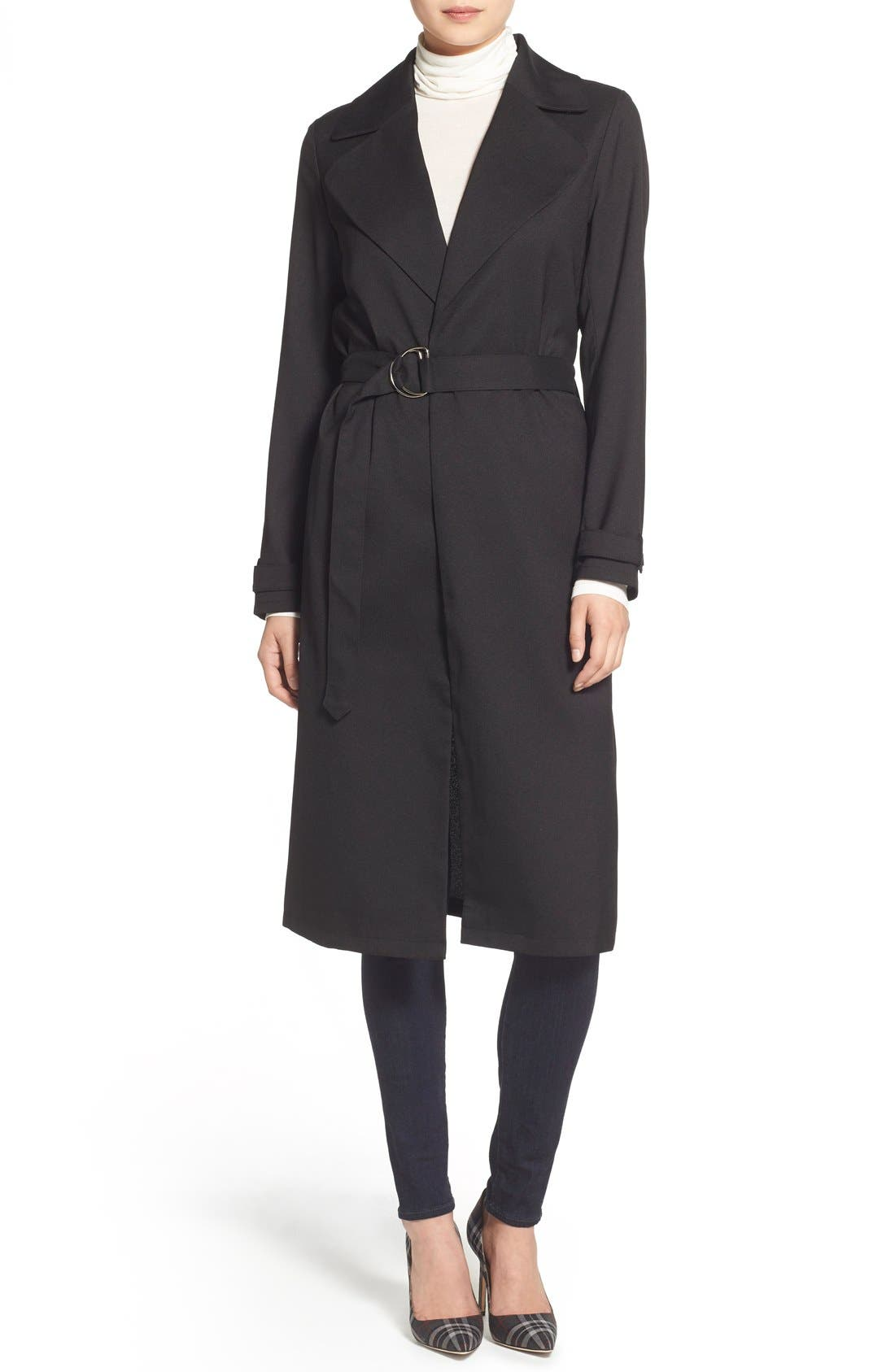 Belted Crepe Trench Coat,                             Alternate thumbnail 3, color,                             001