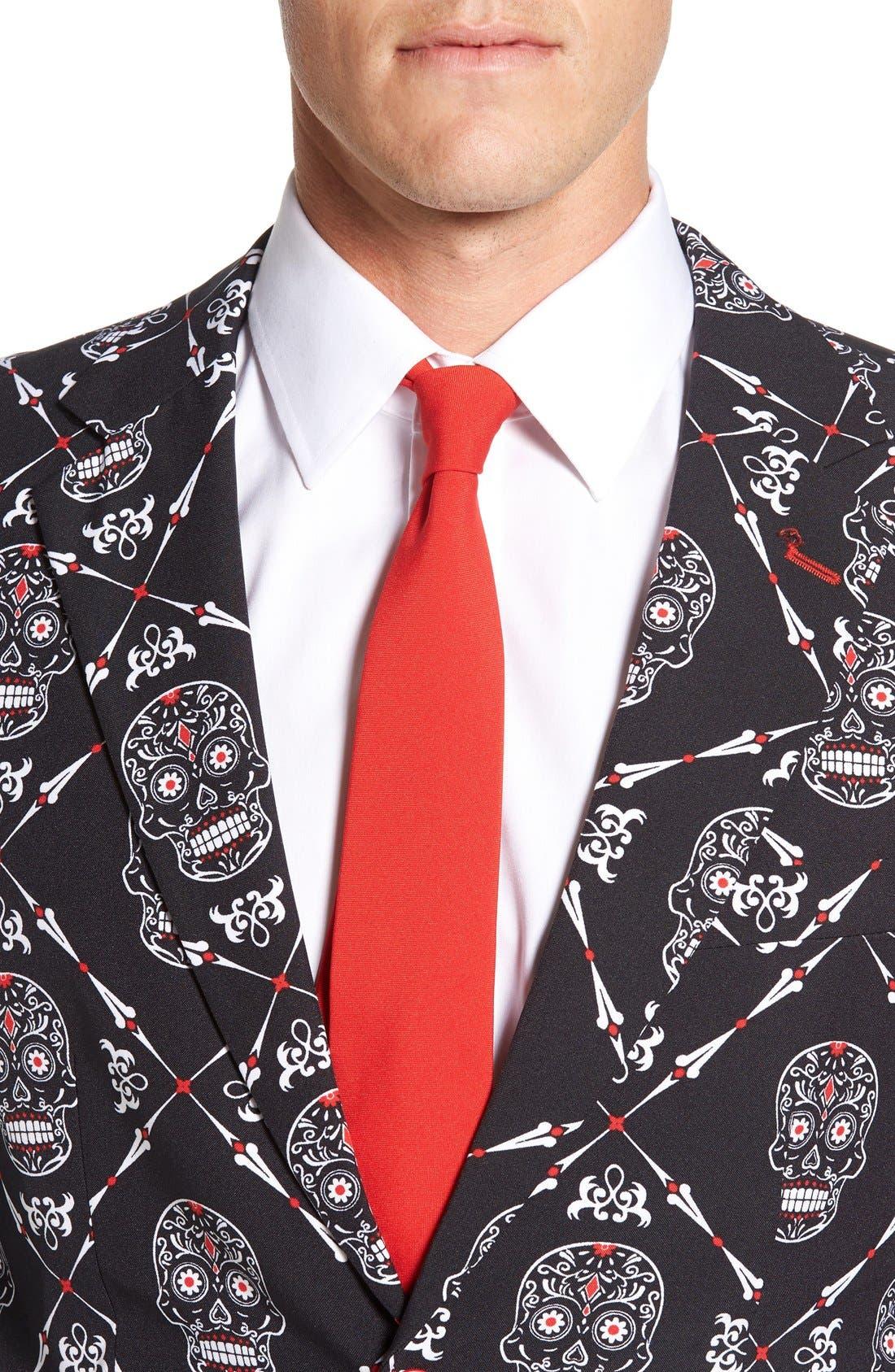 'Haunting Hombre' Trim Fit Suit with Tie,                             Alternate thumbnail 5, color,                             001