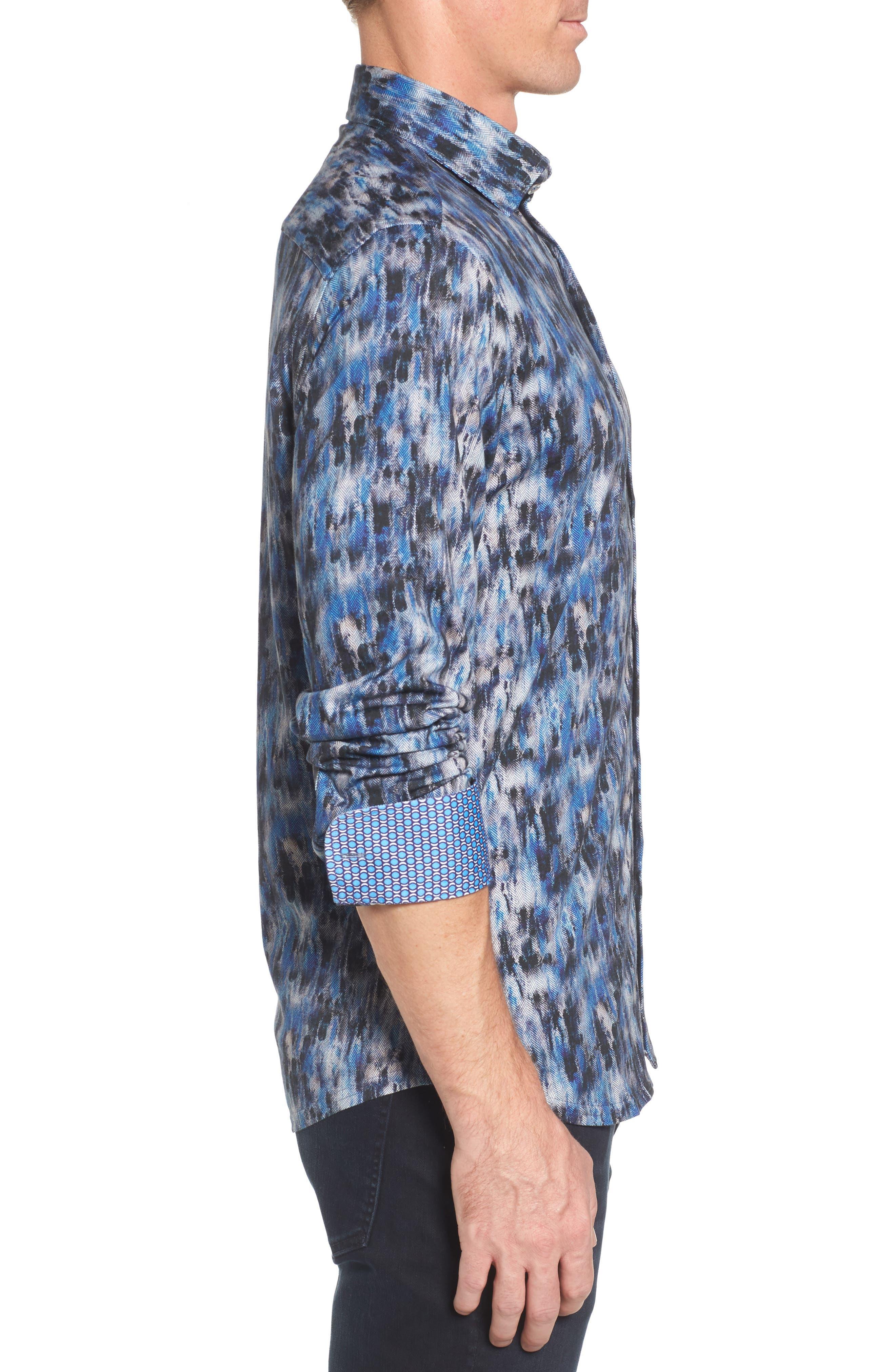 Slim Fit Herringbone FX Sport Shirt,                             Alternate thumbnail 3, color,                             430