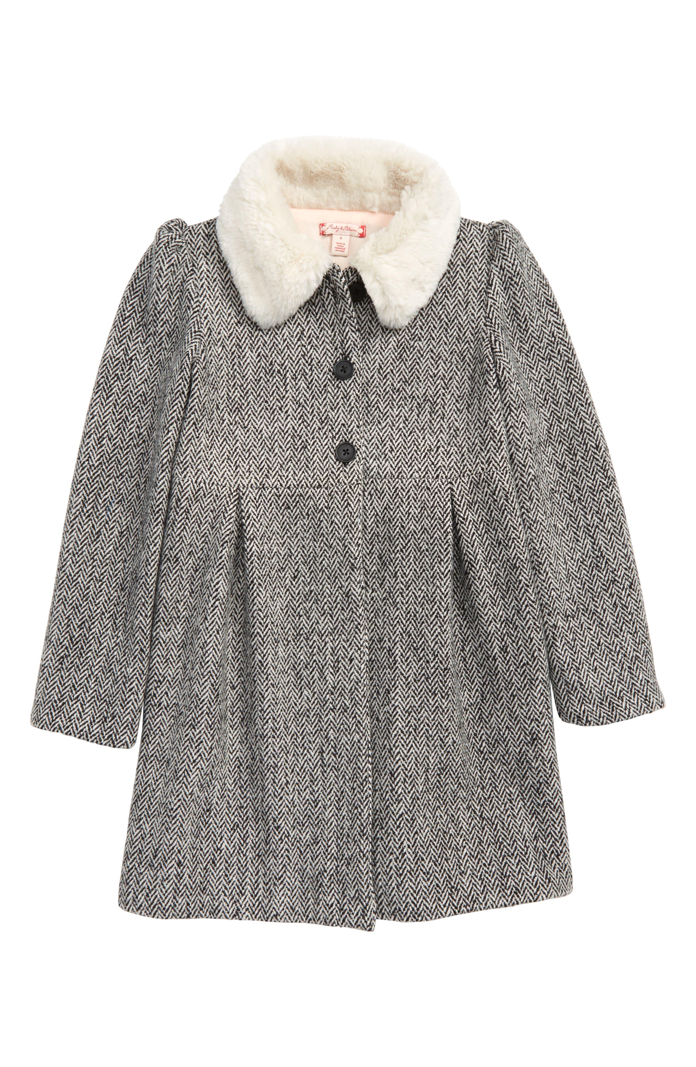 Cozy Faux Fur Collar Swing Coat,                             Main thumbnail 1, color,                             BLACK