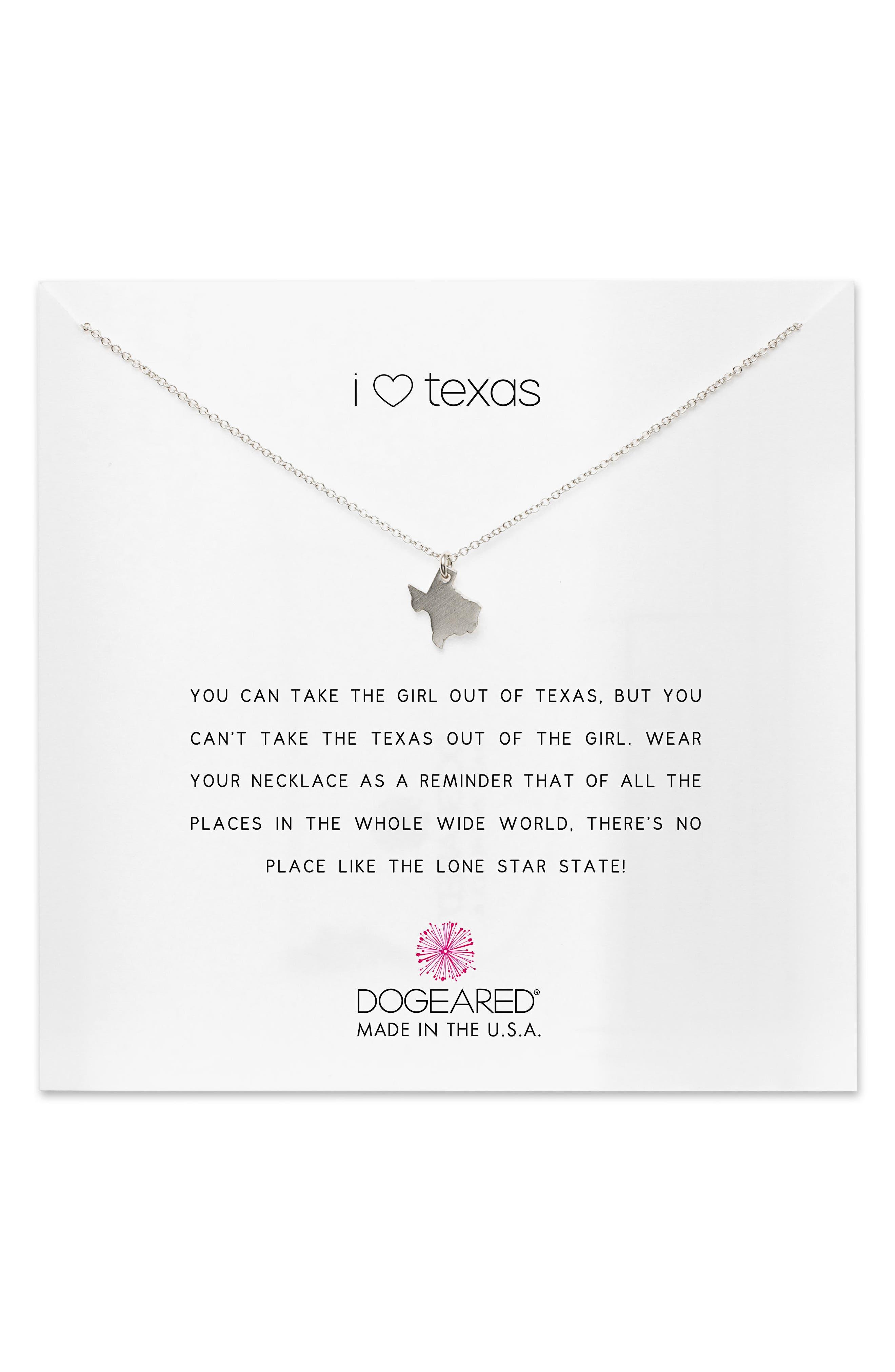 I Heart Texas Pendant Necklace,                             Main thumbnail 1, color,