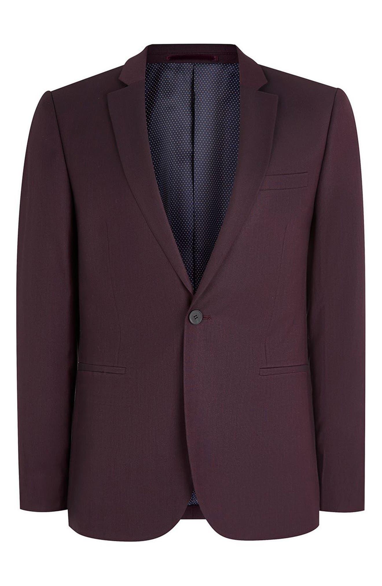 Skinny Fit Plum One-Button Suit Jacket,                             Alternate thumbnail 3, color,                             500