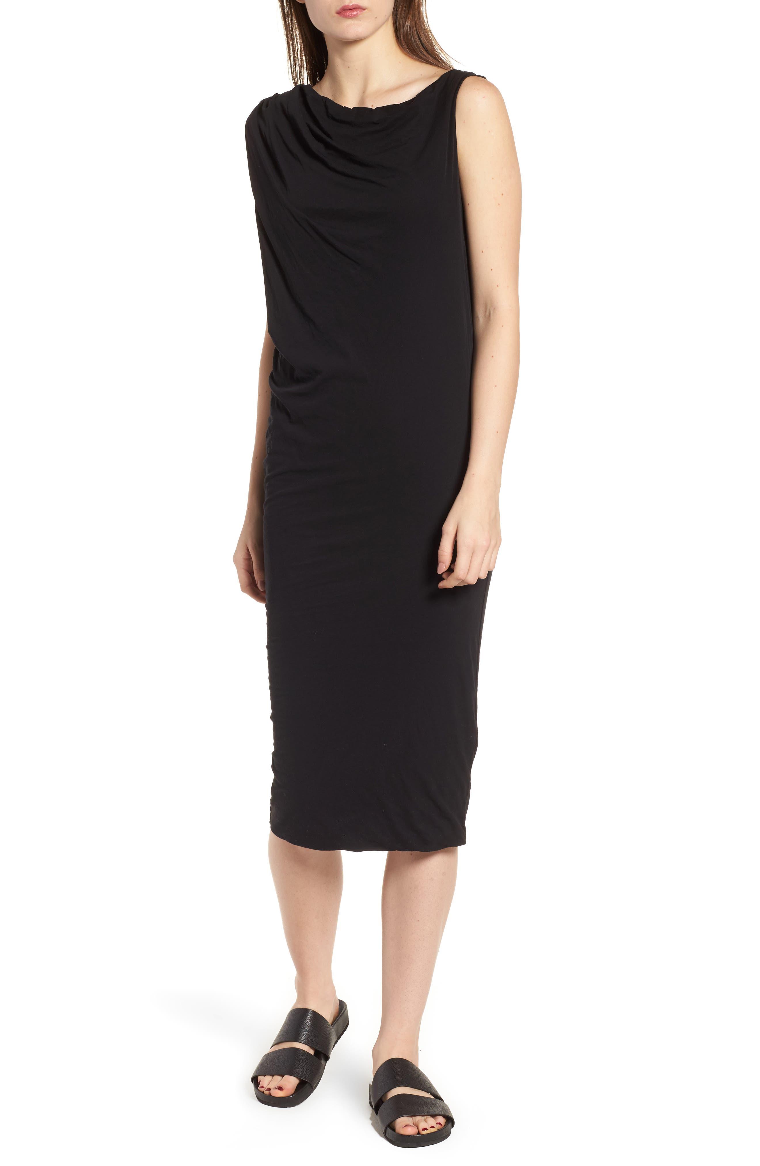 Draped One-Shoulder Midi Dress,                             Main thumbnail 1, color,                             001