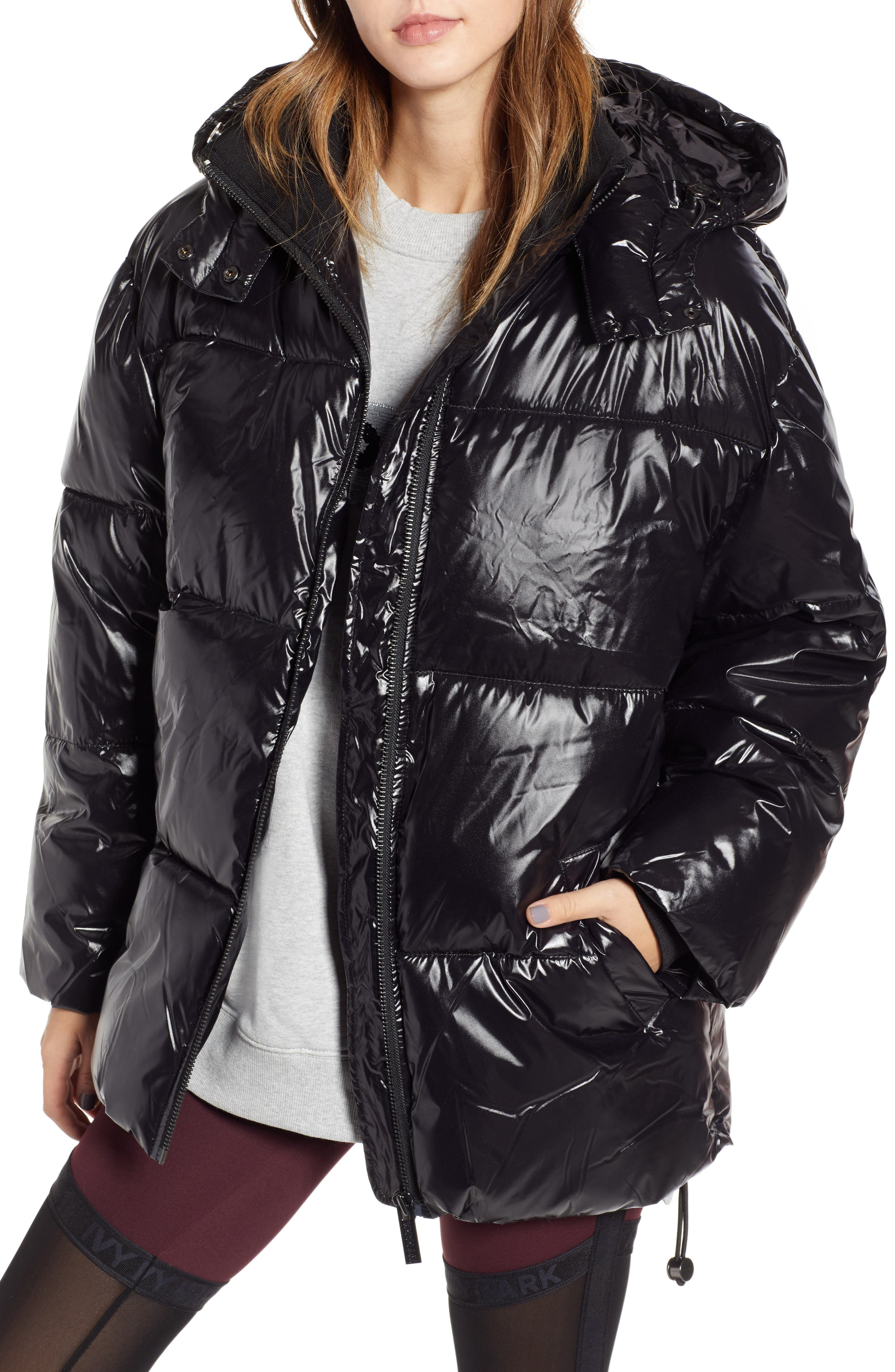 Glossy Puffer Coat,                             Main thumbnail 1, color,                             BLACK