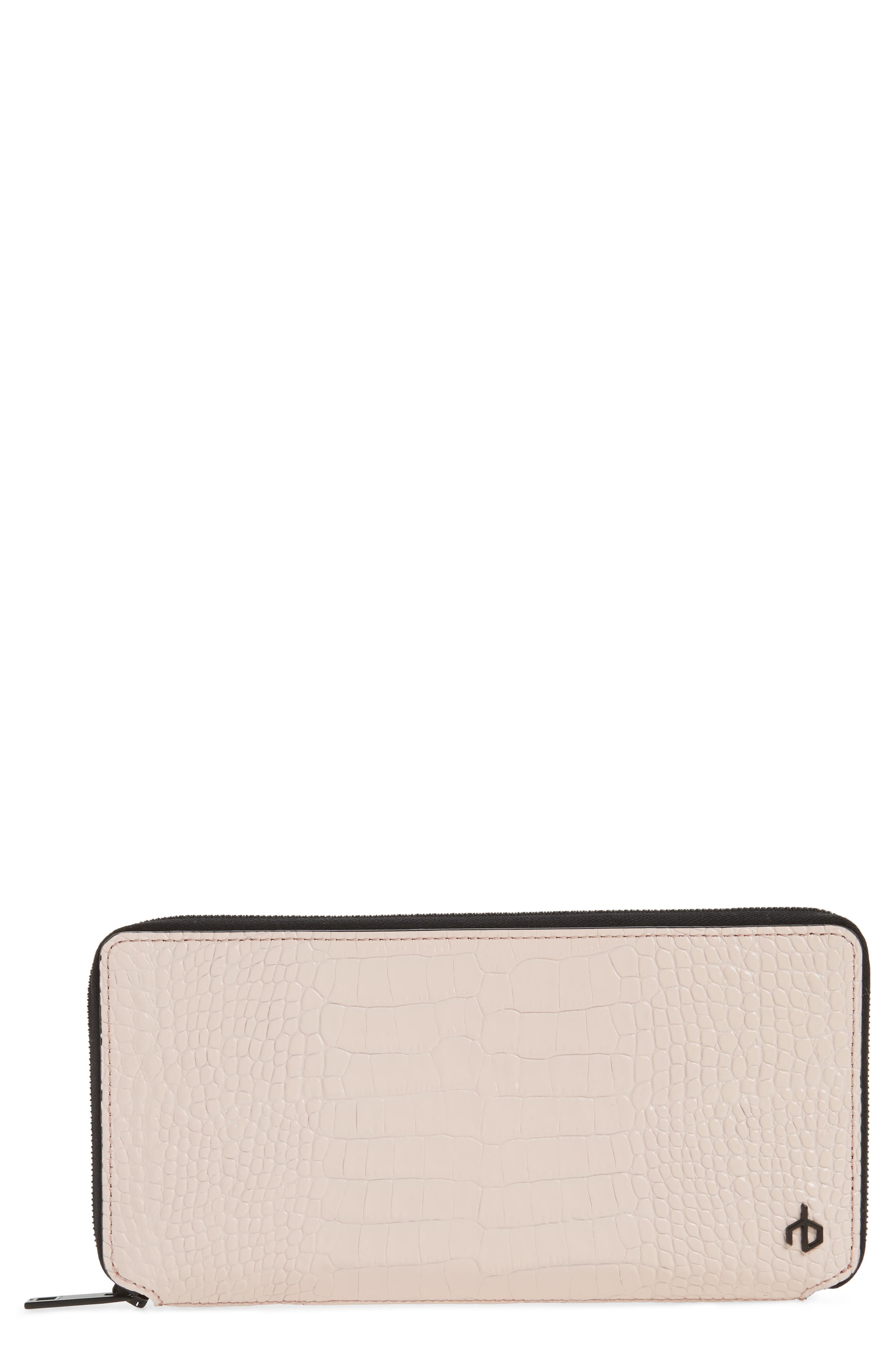 Croc Embossed Zip Around Leather Wallet,                             Main thumbnail 2, color,