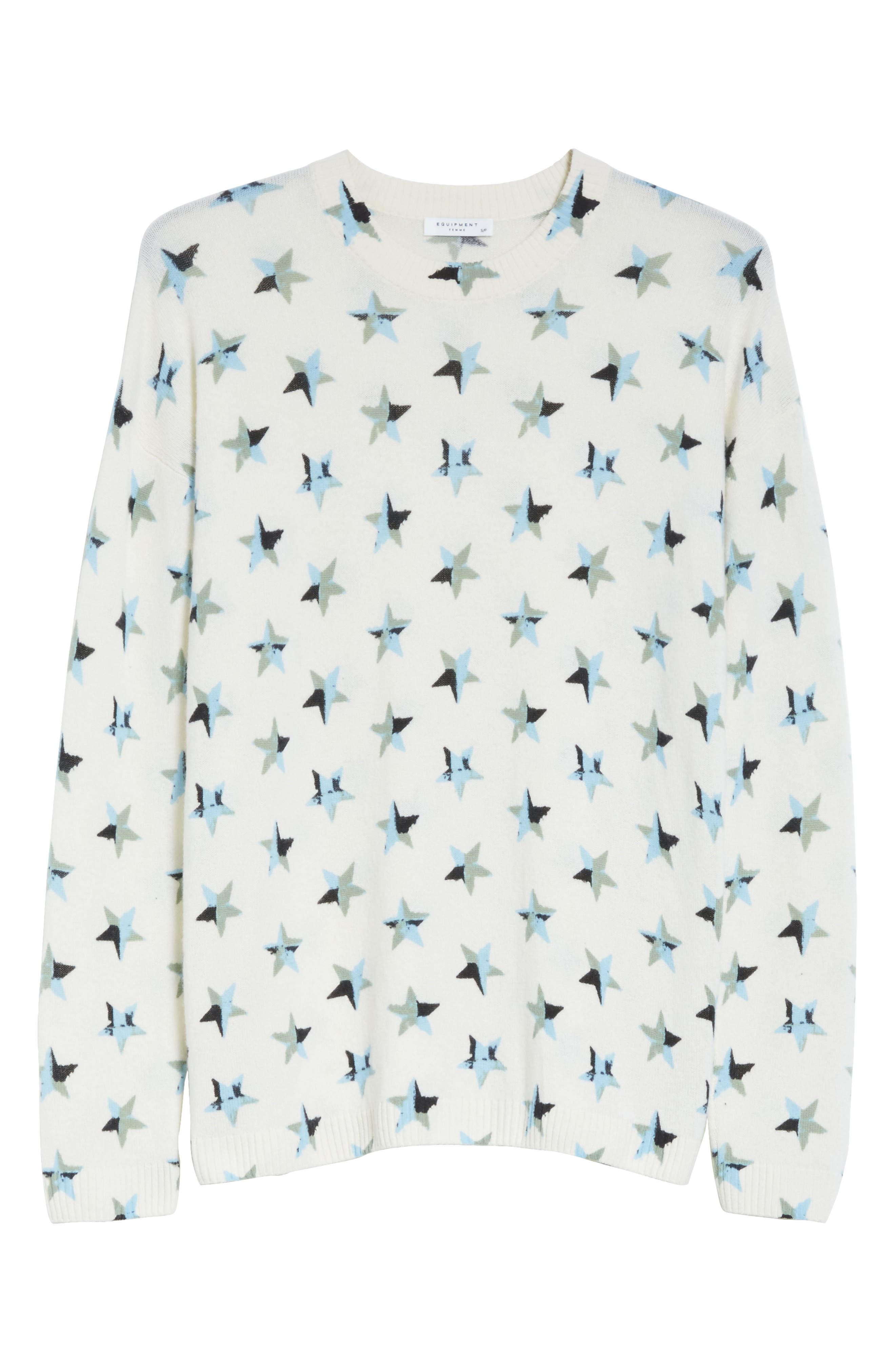 Bryce Star Print Cashmere Sweater,                             Alternate thumbnail 6, color,                             188