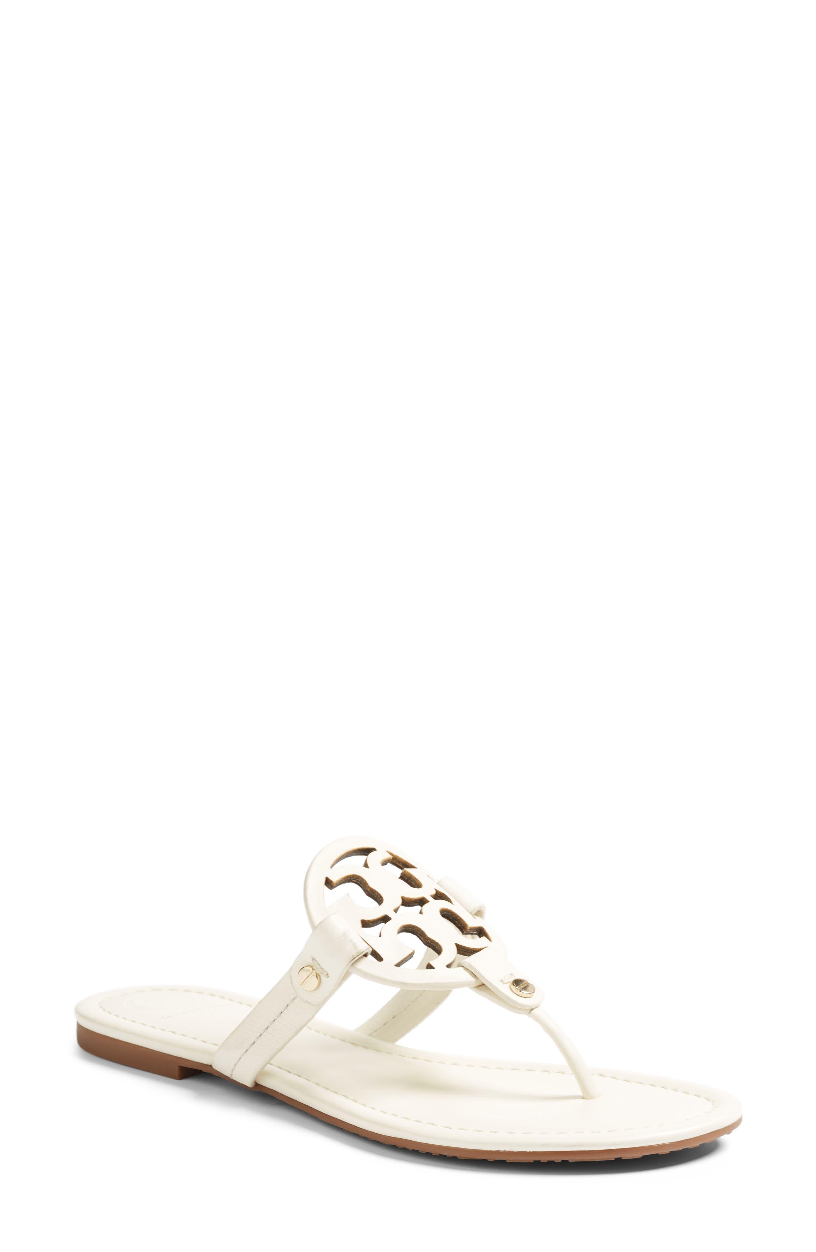 Miller Leather Logo Flat Slide Sandals in Bleach