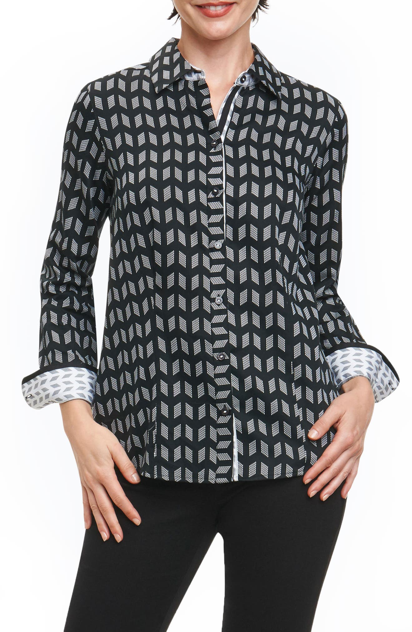 Brooke Chevron Geo Wrinkle Free Shirt,                         Main,                         color, 001
