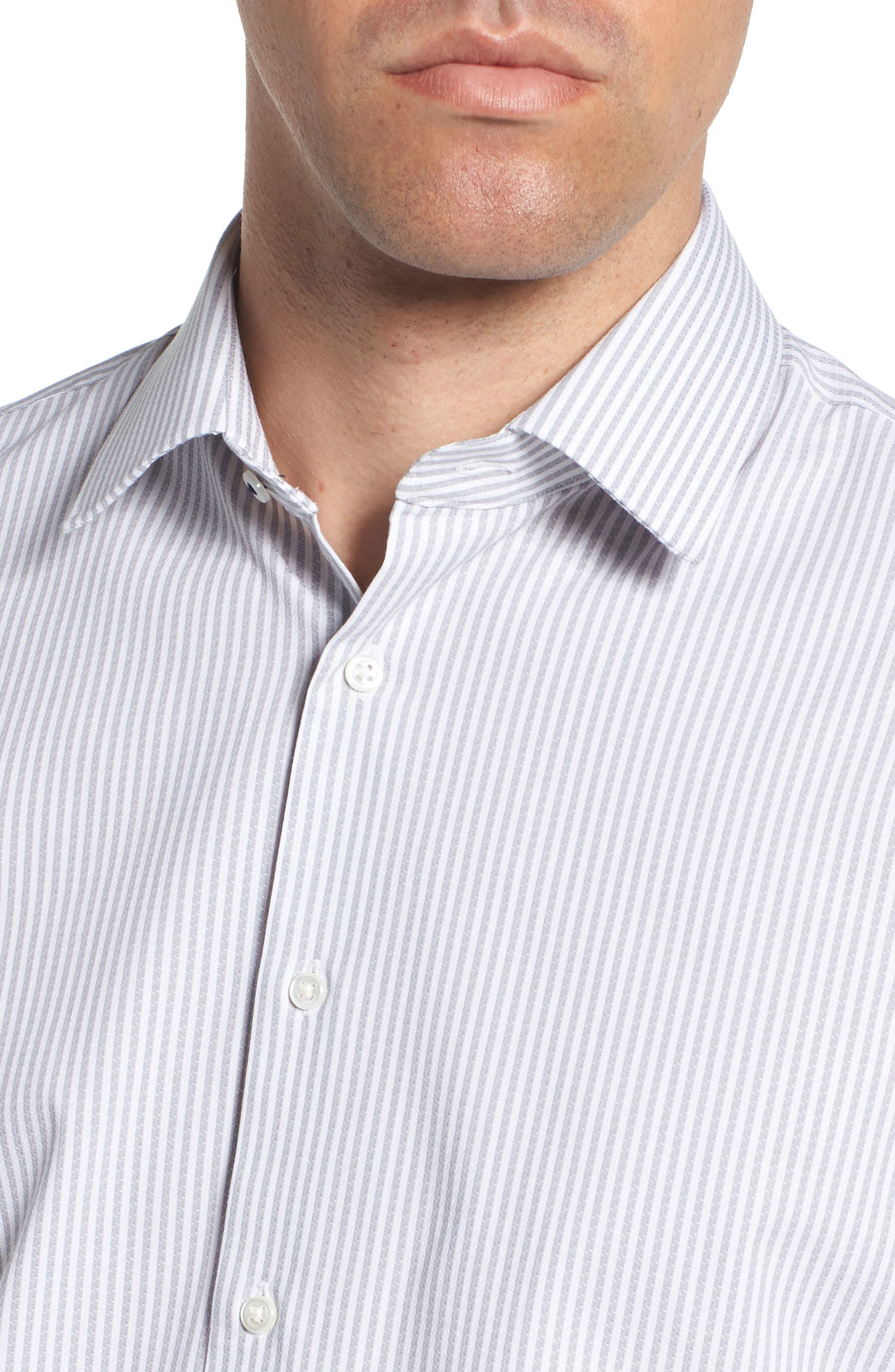 Tech-Smart Trim Fit Stripe Stretch Dress Shirt,                             Alternate thumbnail 2, color,                             050