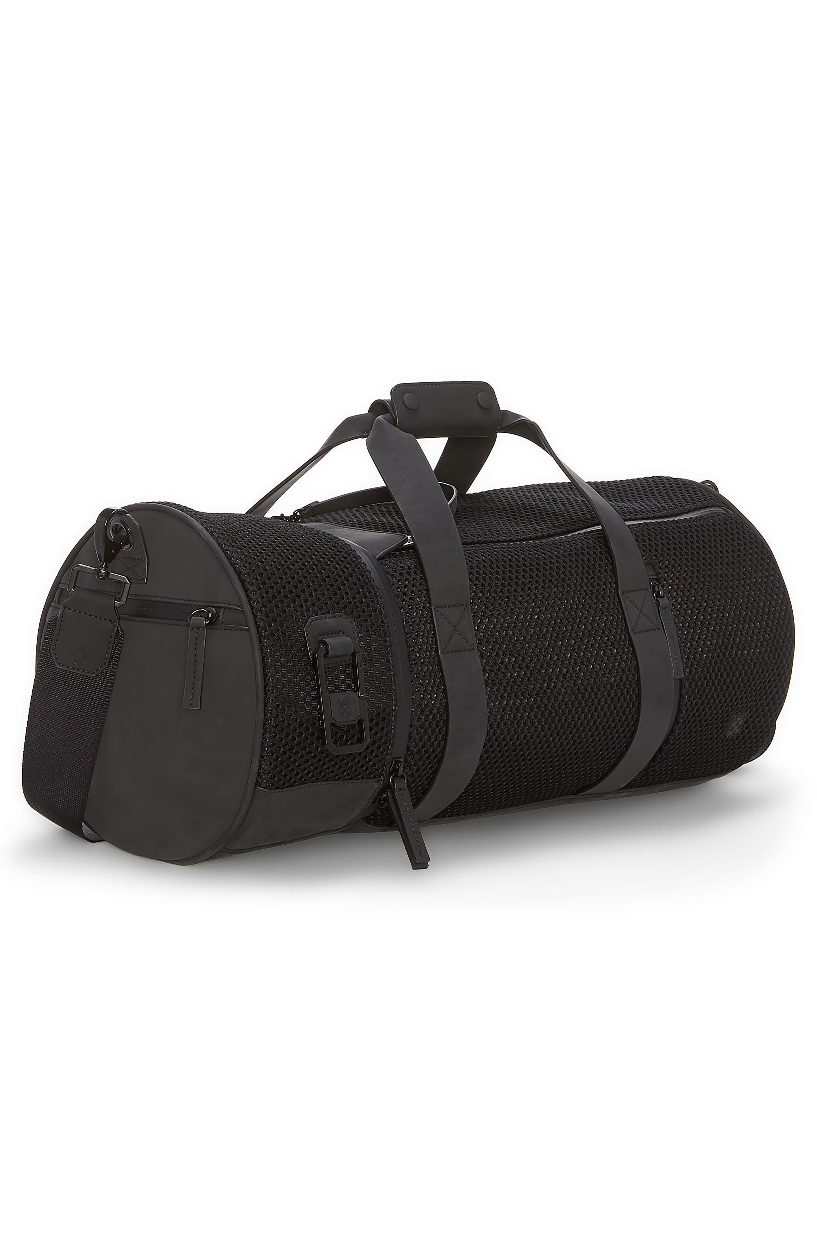 Urban Mesh Duffel Bag,                             Alternate thumbnail 4, color,                             BLACK