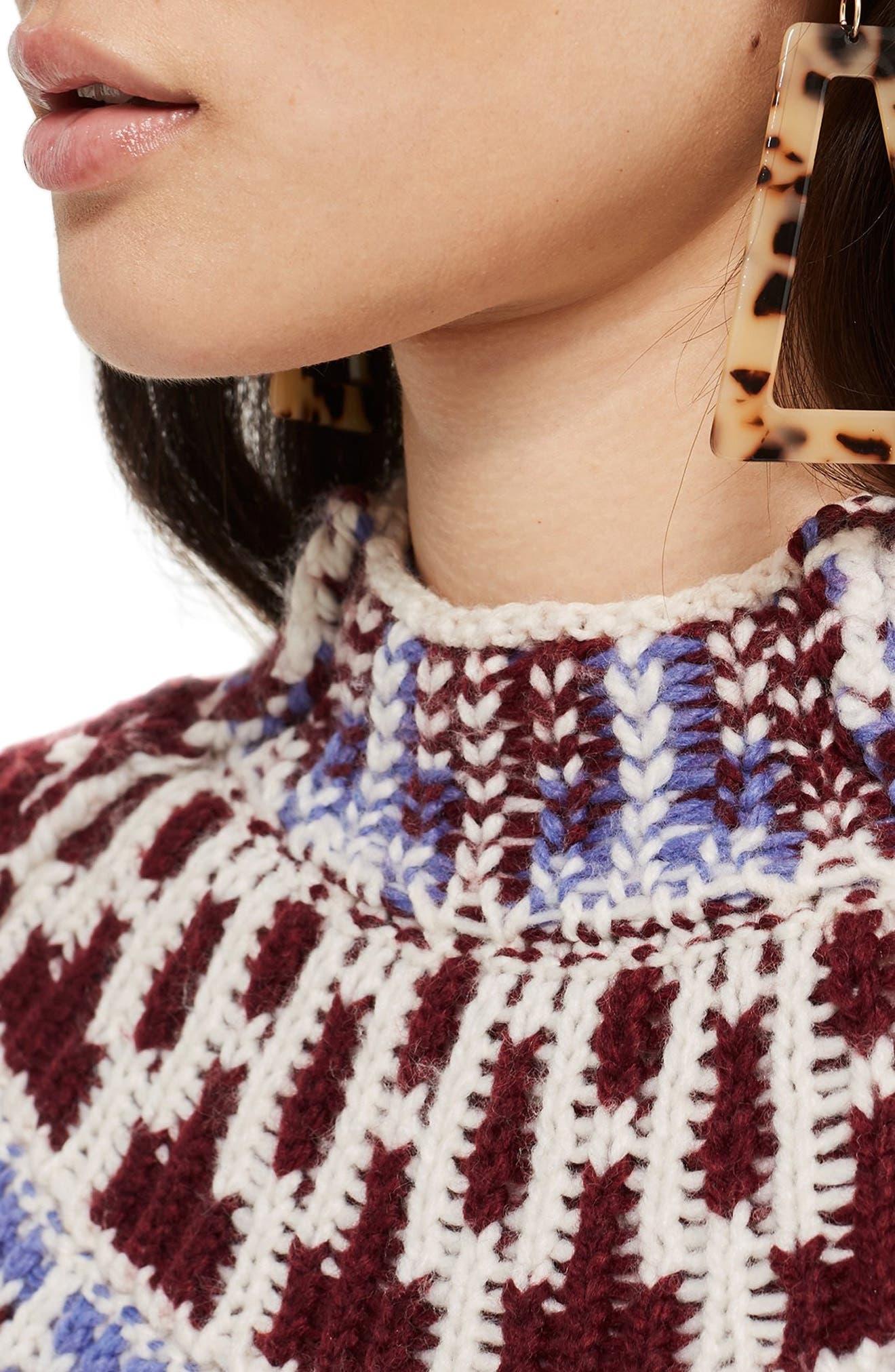 Reverse Fair Isle Sweater,                             Alternate thumbnail 4, color,                             OATMEAL MULTI