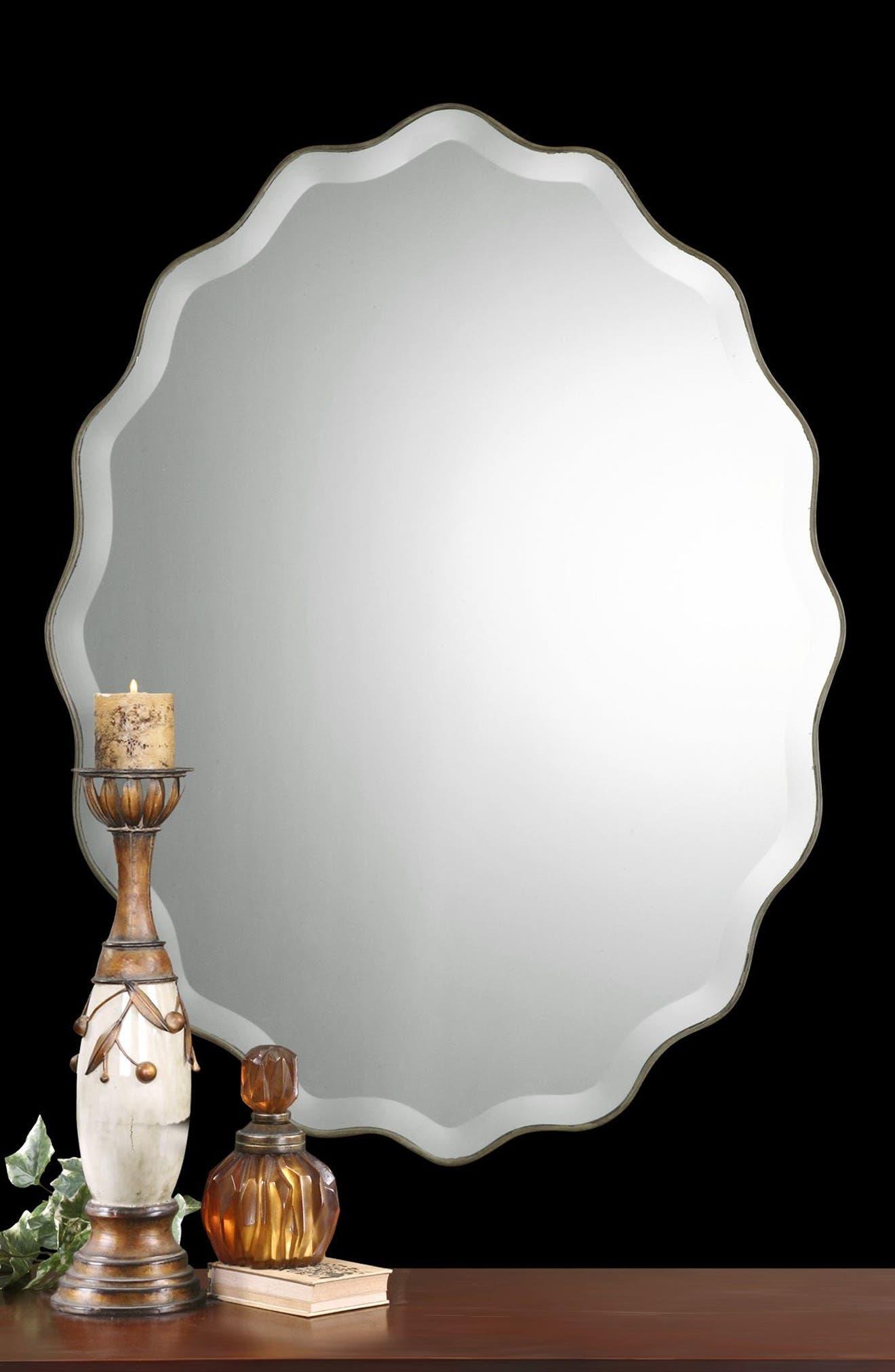 'Teodora' Ruffle Edge Mirror,                             Alternate thumbnail 4, color,                             100