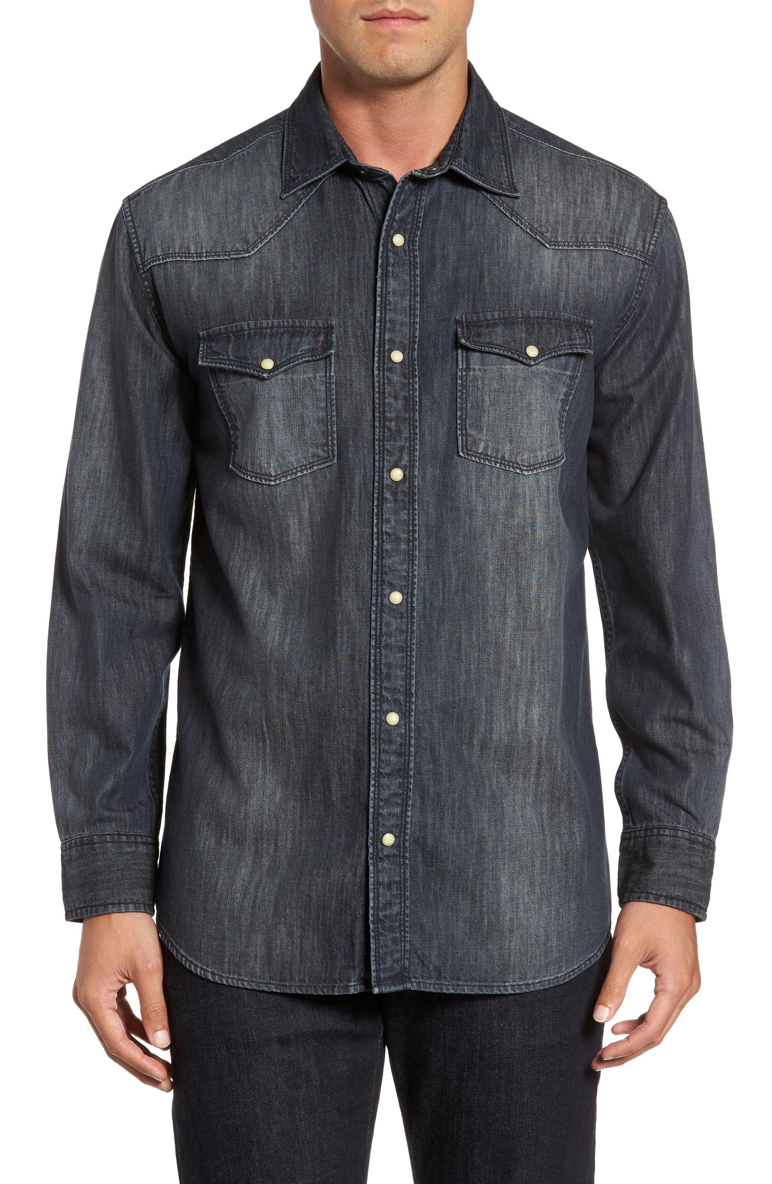 Regular Fit Denim Western Shirt,                             Main thumbnail 2, color,