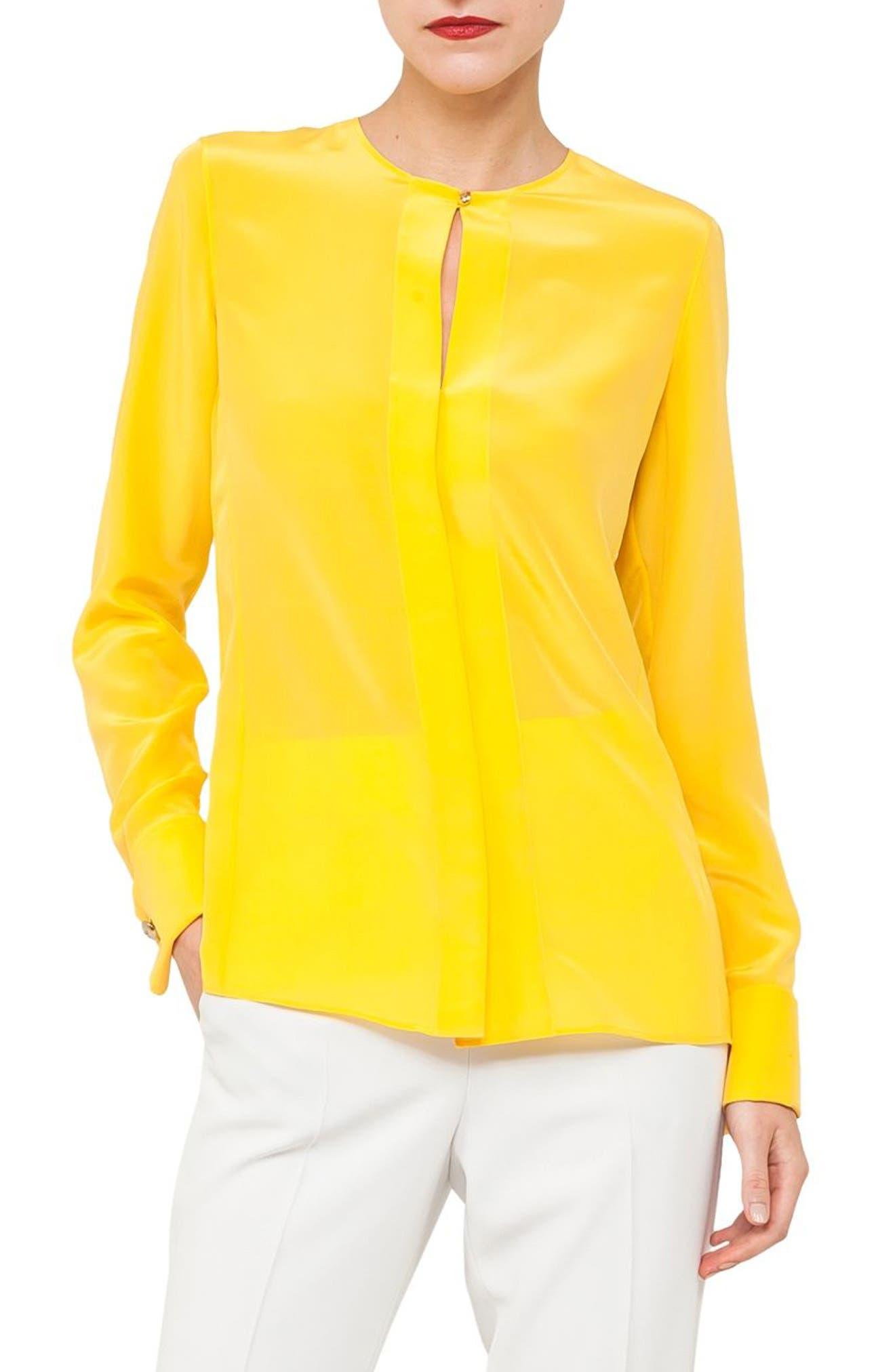 Silk Crepe Georgette Blouse,                         Main,                         color, SUN
