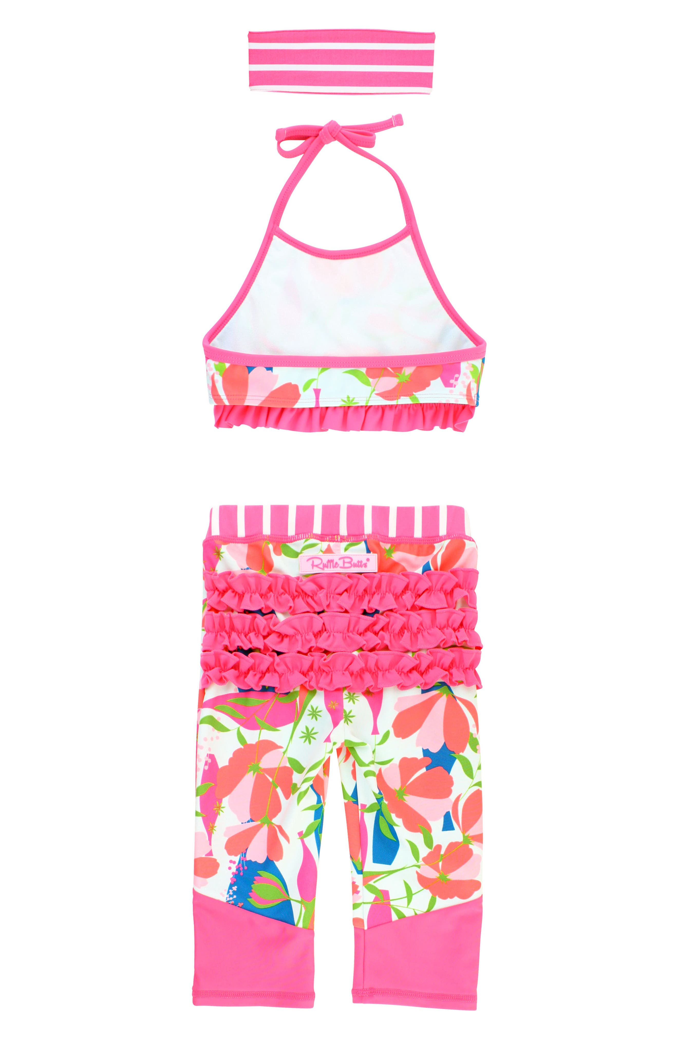 Stems Four-Piece Swimsuit & Rashguard Set,                             Alternate thumbnail 3, color,                             PINK