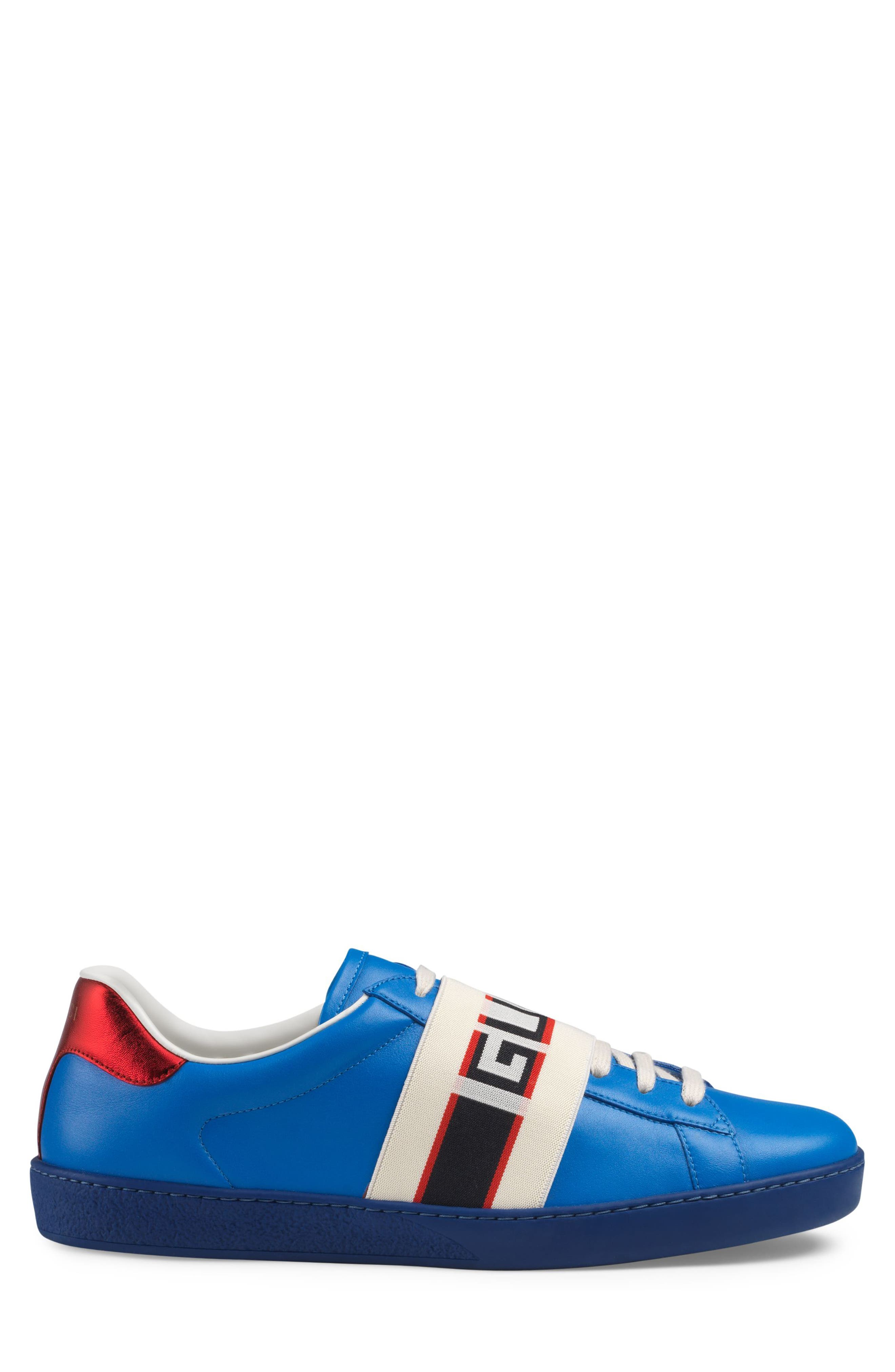New Ace Stripe Leather Sneaker,                             Alternate thumbnail 2, color,                             BLUE