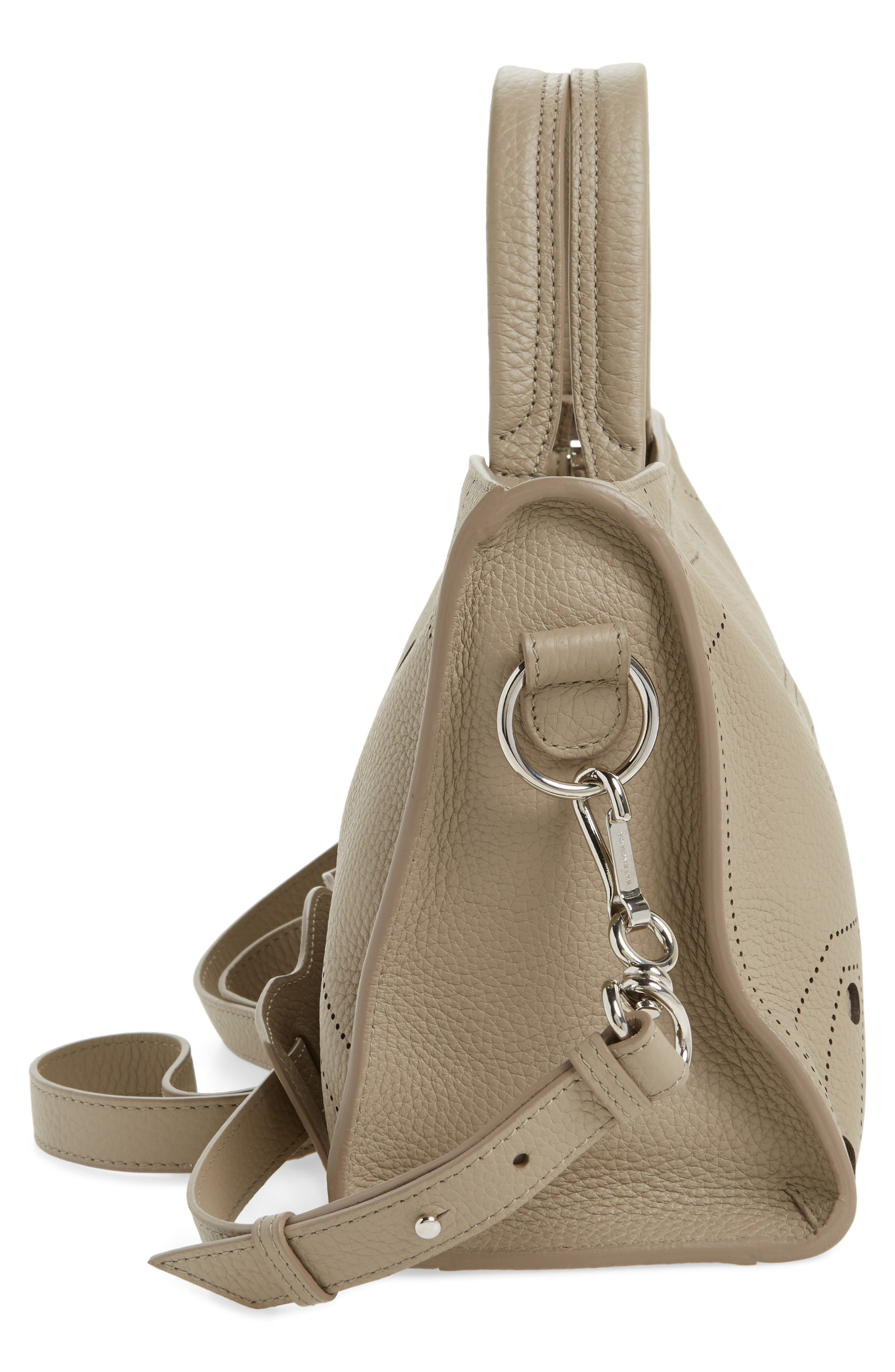 Small Blackout City Leather Tote,                             Alternate thumbnail 5, color,                             035