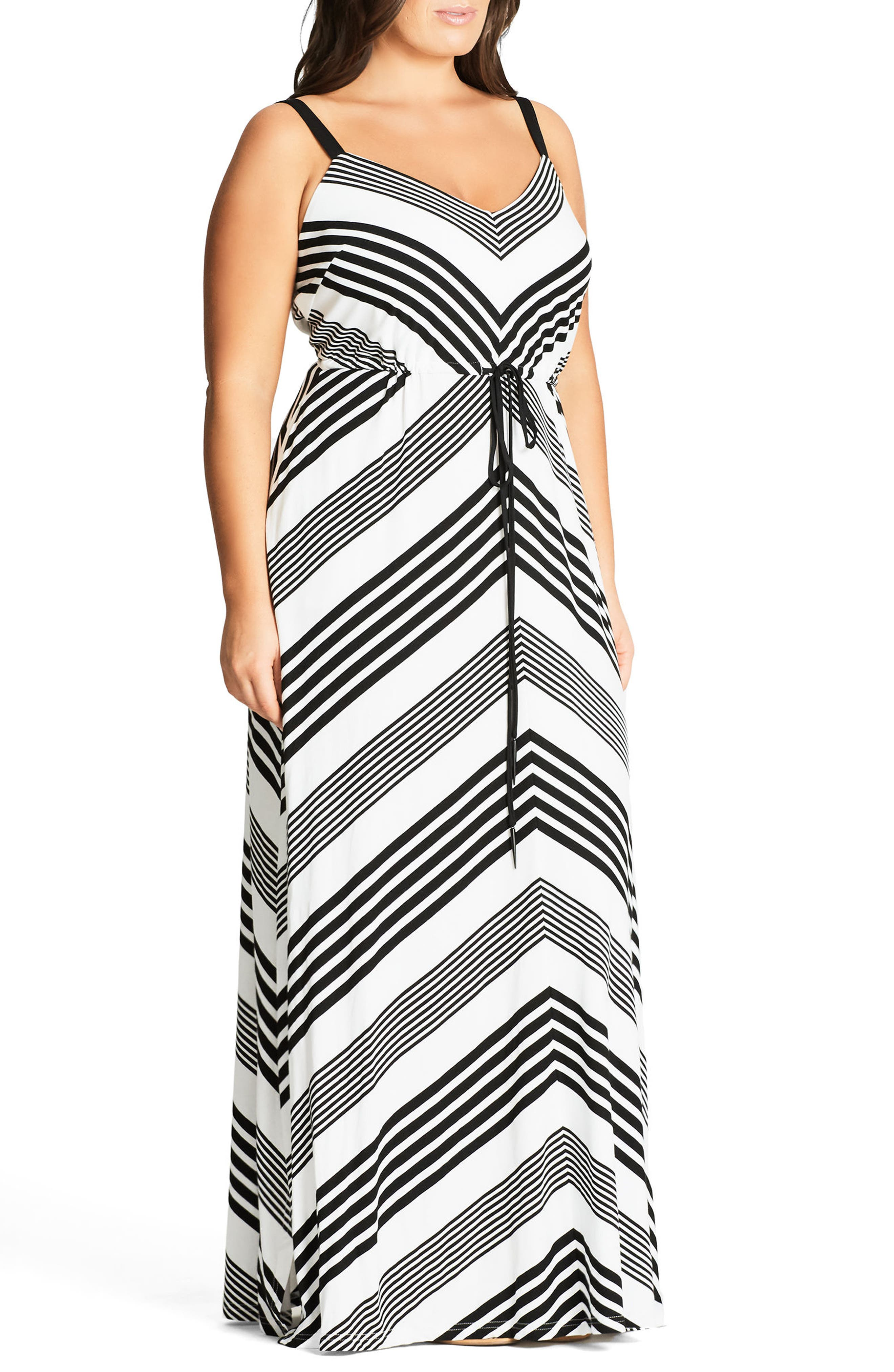 Stripe Maxi Dress,                             Alternate thumbnail 4, color,                             001