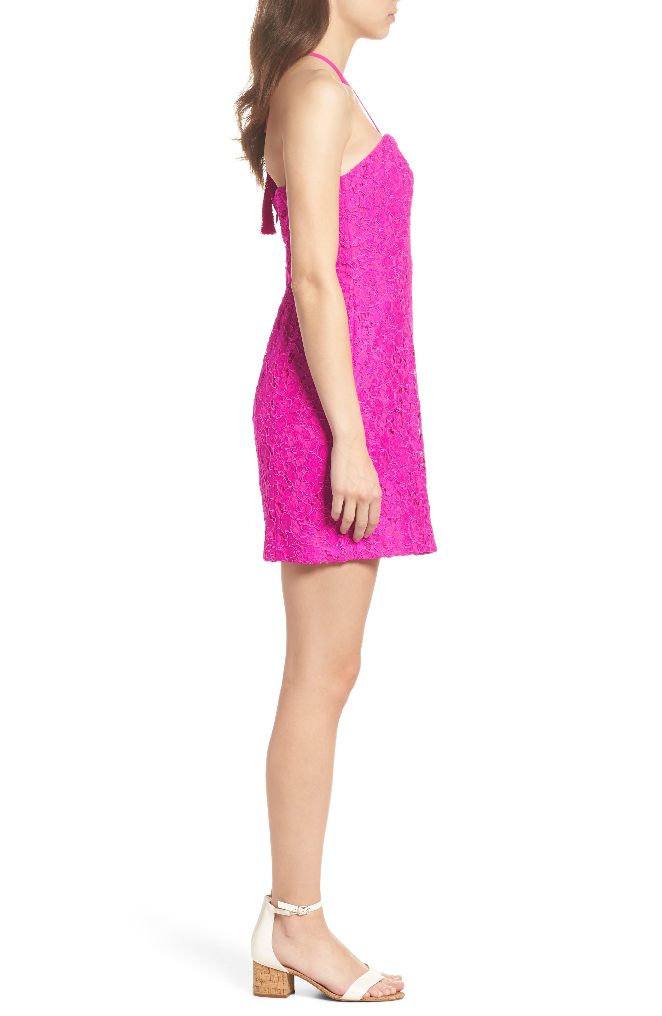 Demi Lace Dress,                             Alternate thumbnail 4, color,                             BERRY SANGRIA FLORAL LACE