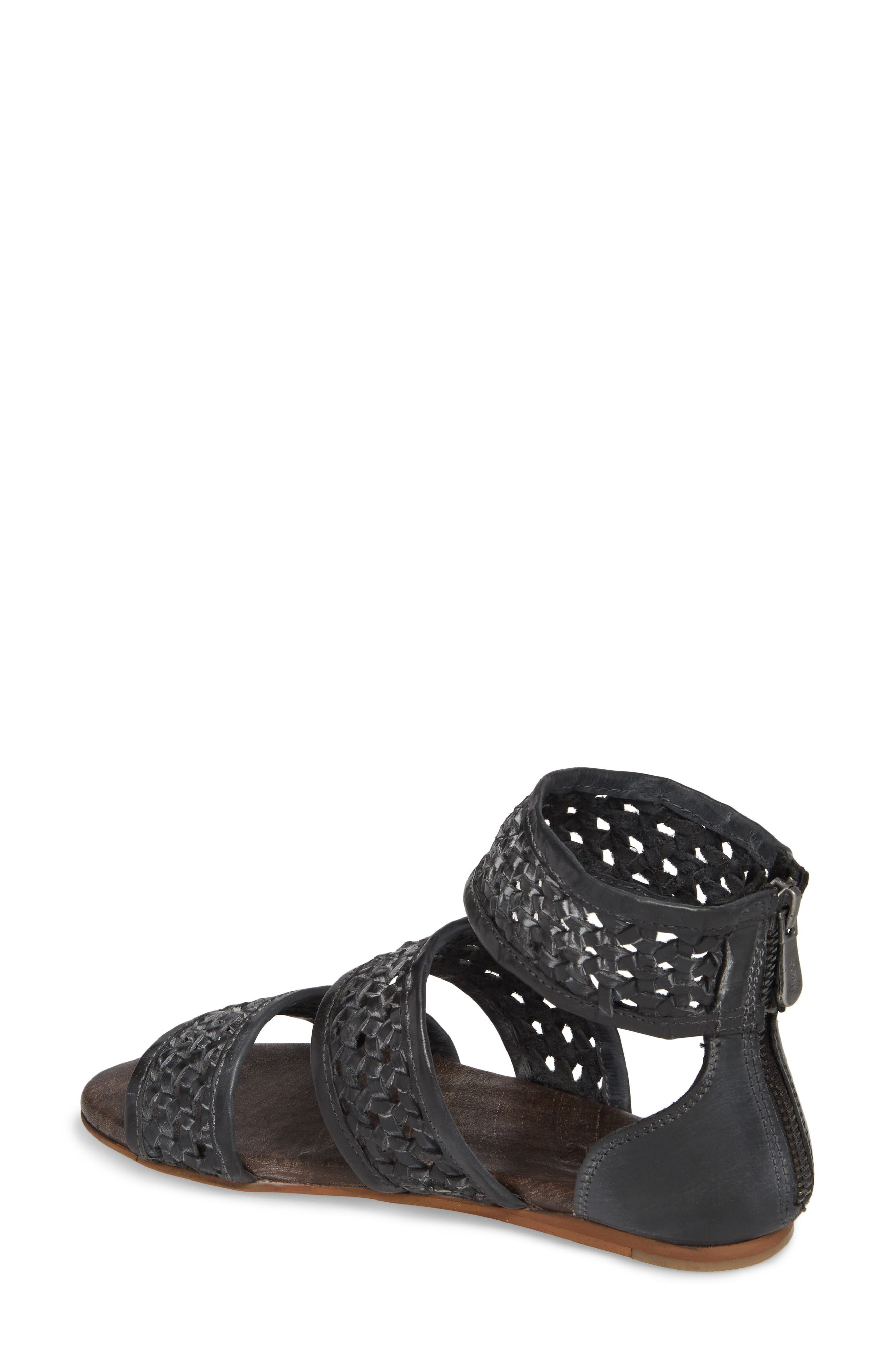 Clio Woven Ankle Cuff Sandal,                             Alternate thumbnail 2, color,                             BLACK