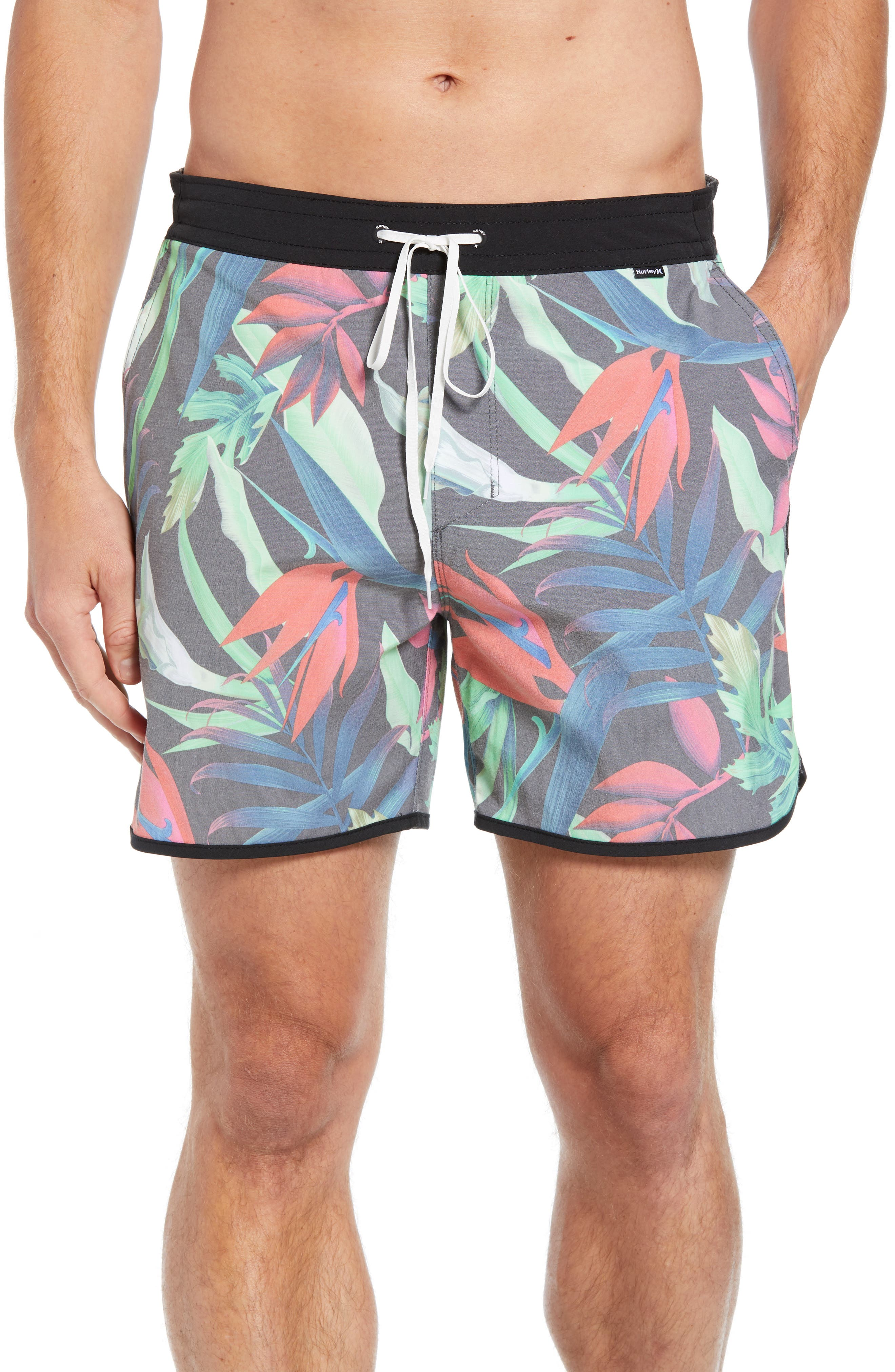 Hurley Tropics Volley Swim Trunks, Black