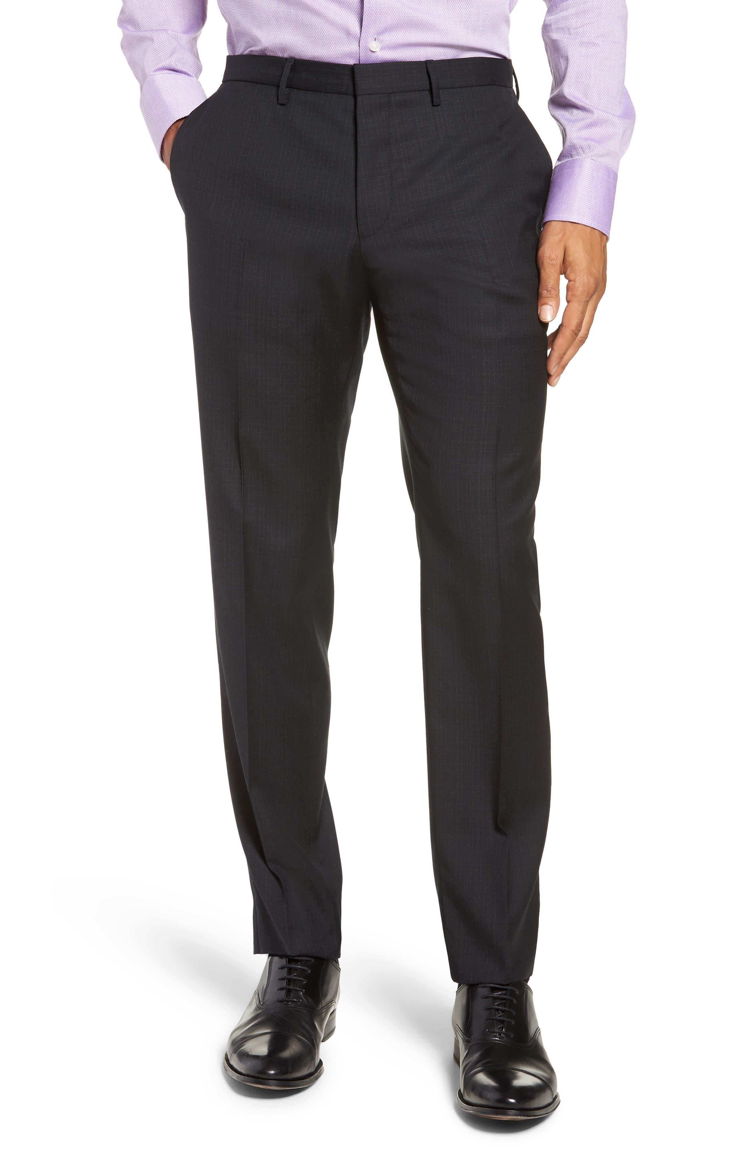 Reymond/Wenten Extra Trim Fit Check Wool Suit,                             Alternate thumbnail 6, color,                             BLACK