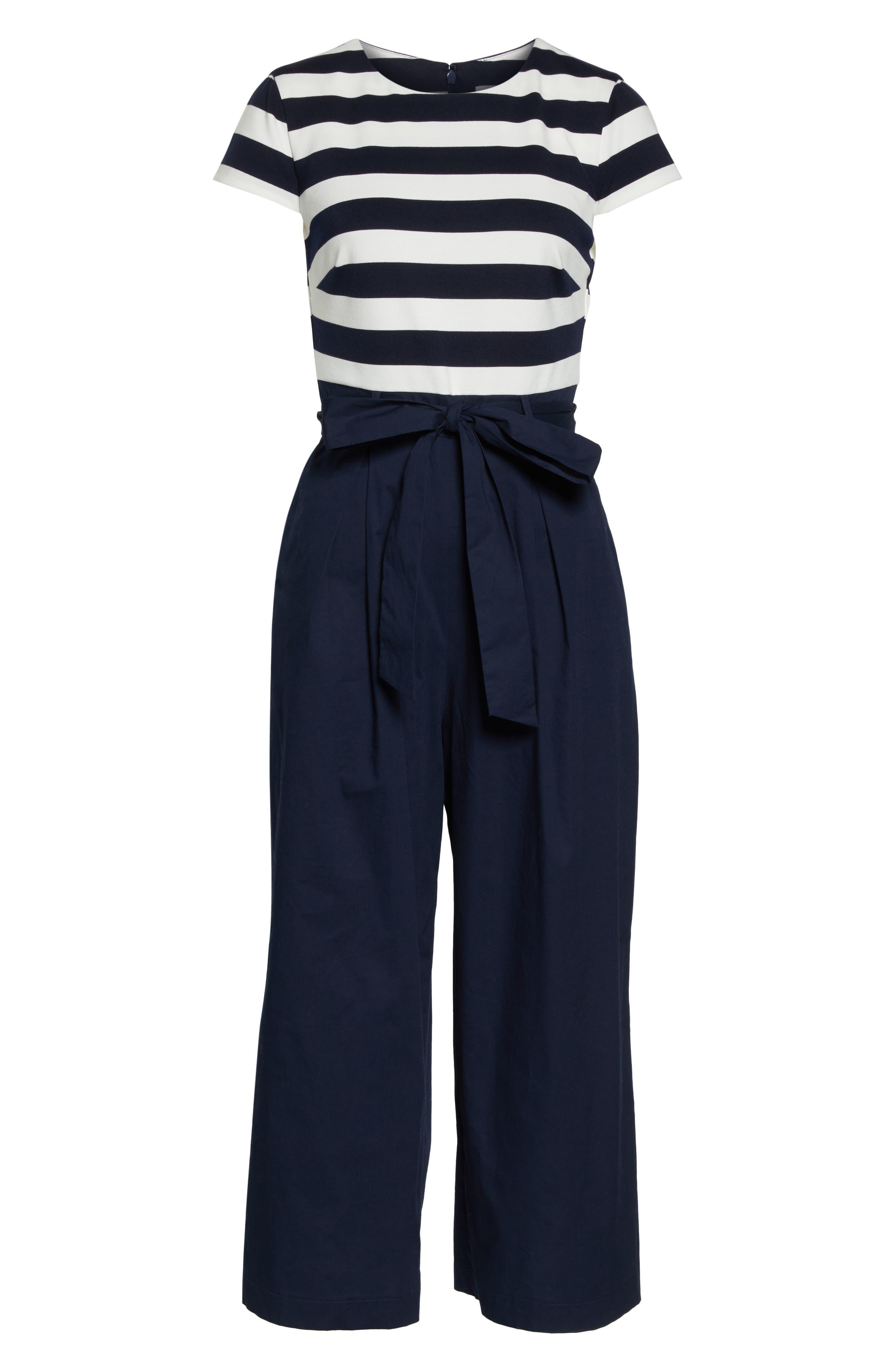 Stripe Ponte Crop Jumpsuit,                             Alternate thumbnail 7, color,                             BLUE WHITE STRIPE