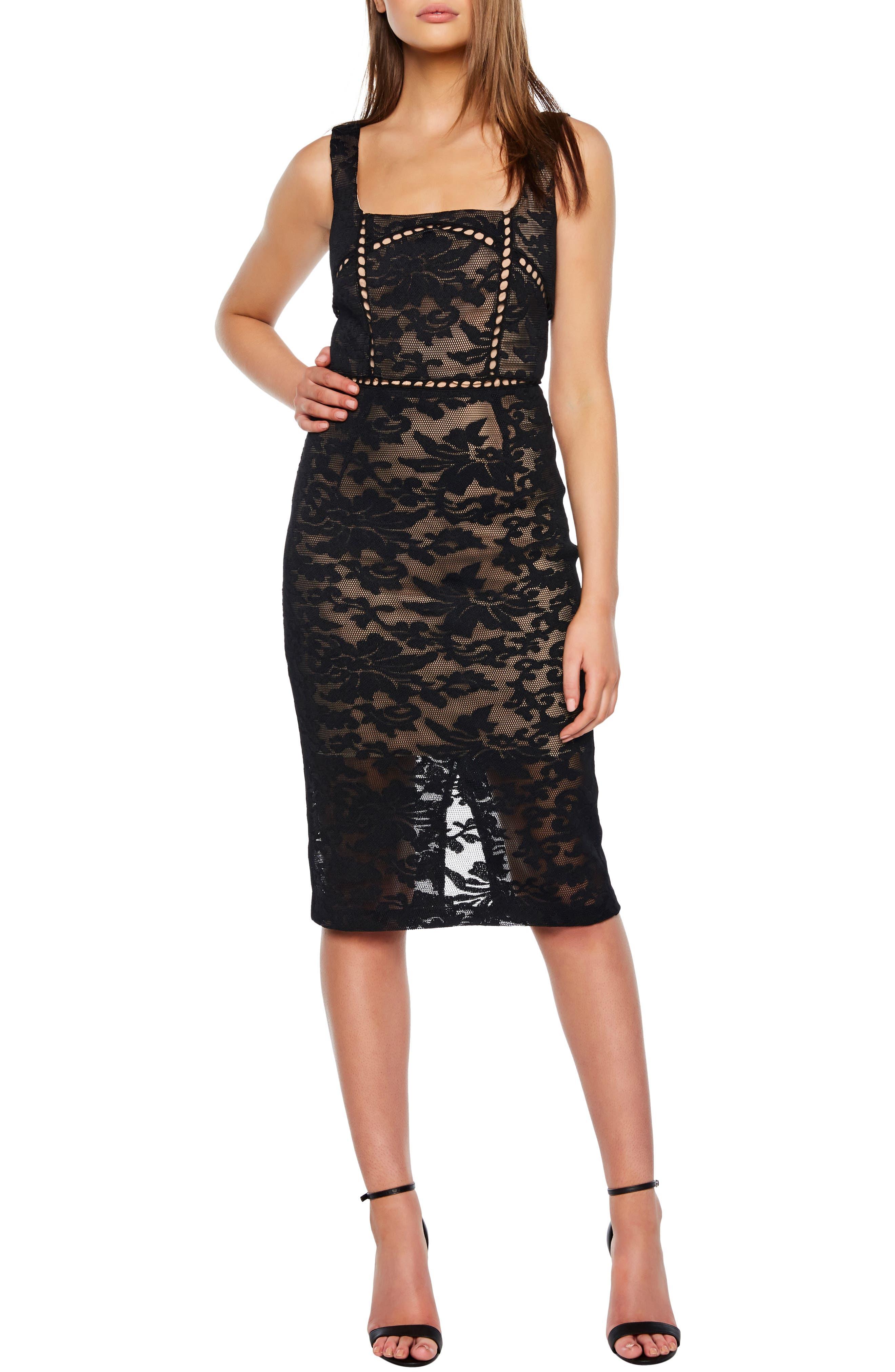 Stella Lace Sheath Dress,                             Main thumbnail 1, color,                             BLACK