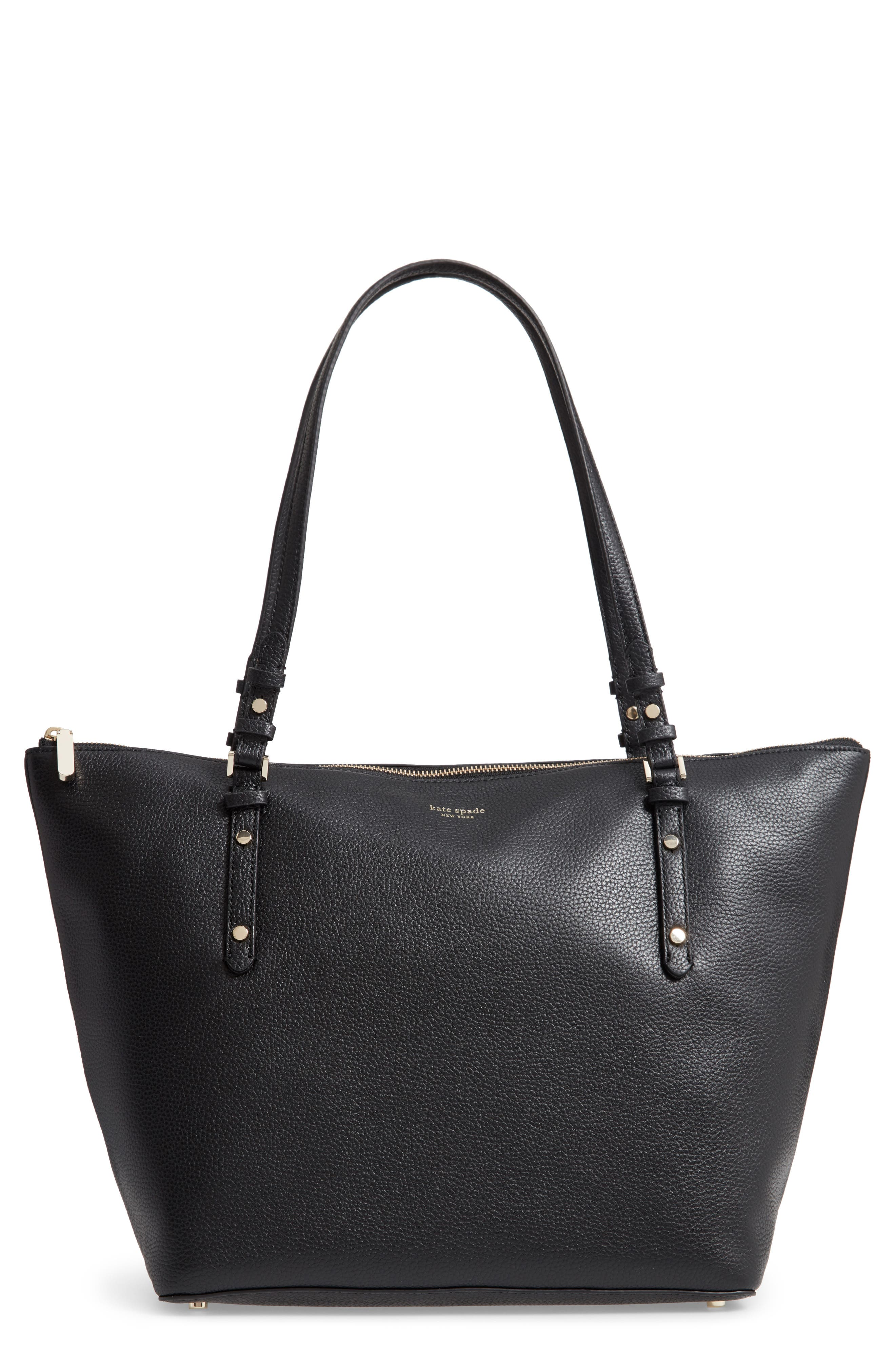 KATE SPADE NEW YORK,                             large polly leather tote,                             Main thumbnail 1, color,                             BLACK