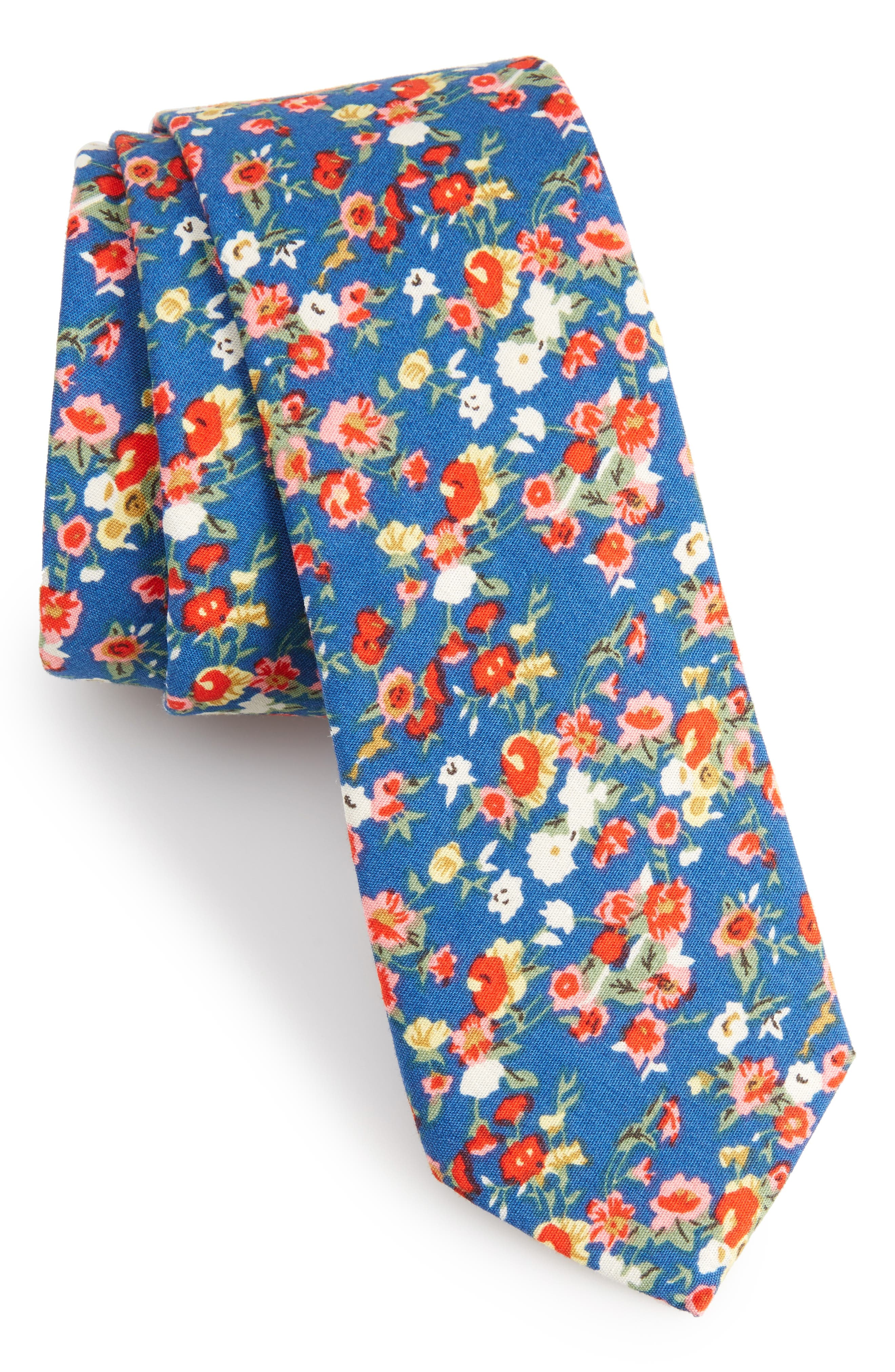 Brayfield Floral Cotton Skinny Tie,                             Main thumbnail 1, color,