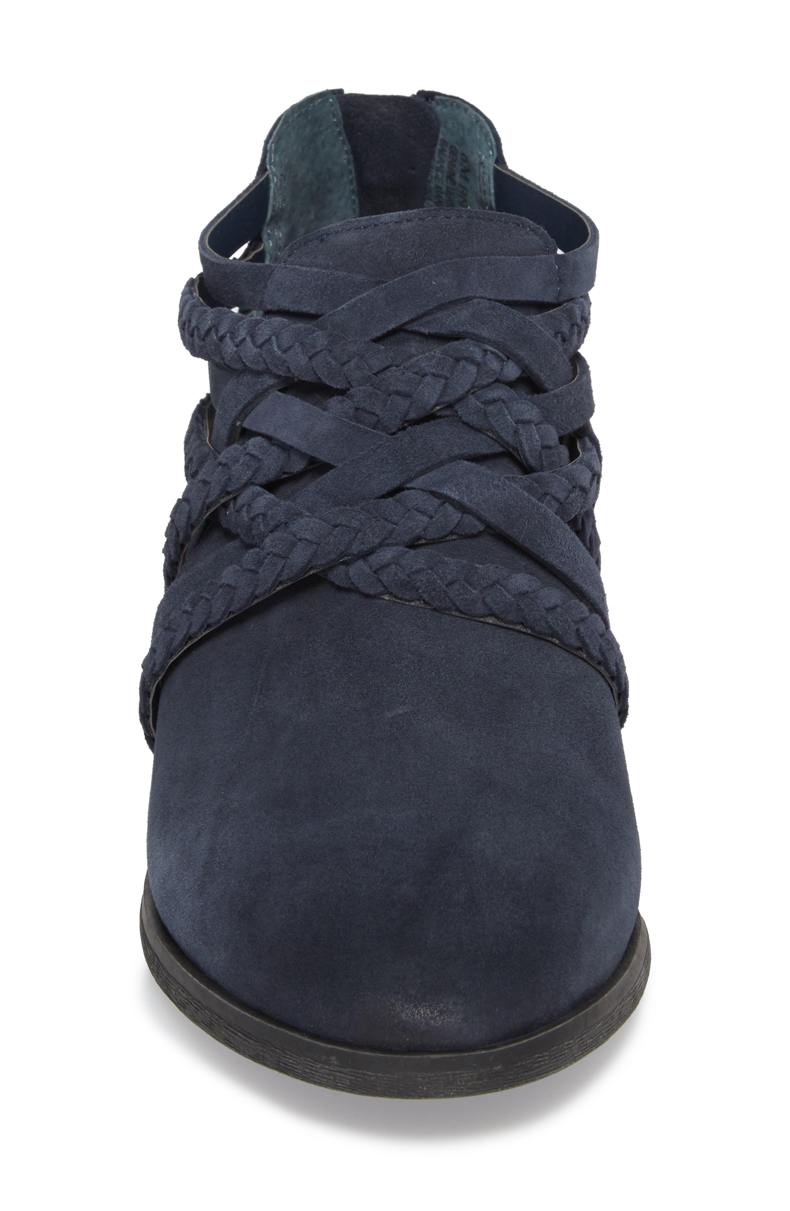 Liam Braided Bootie,                             Alternate thumbnail 4, color,                             NAVY SUEDE