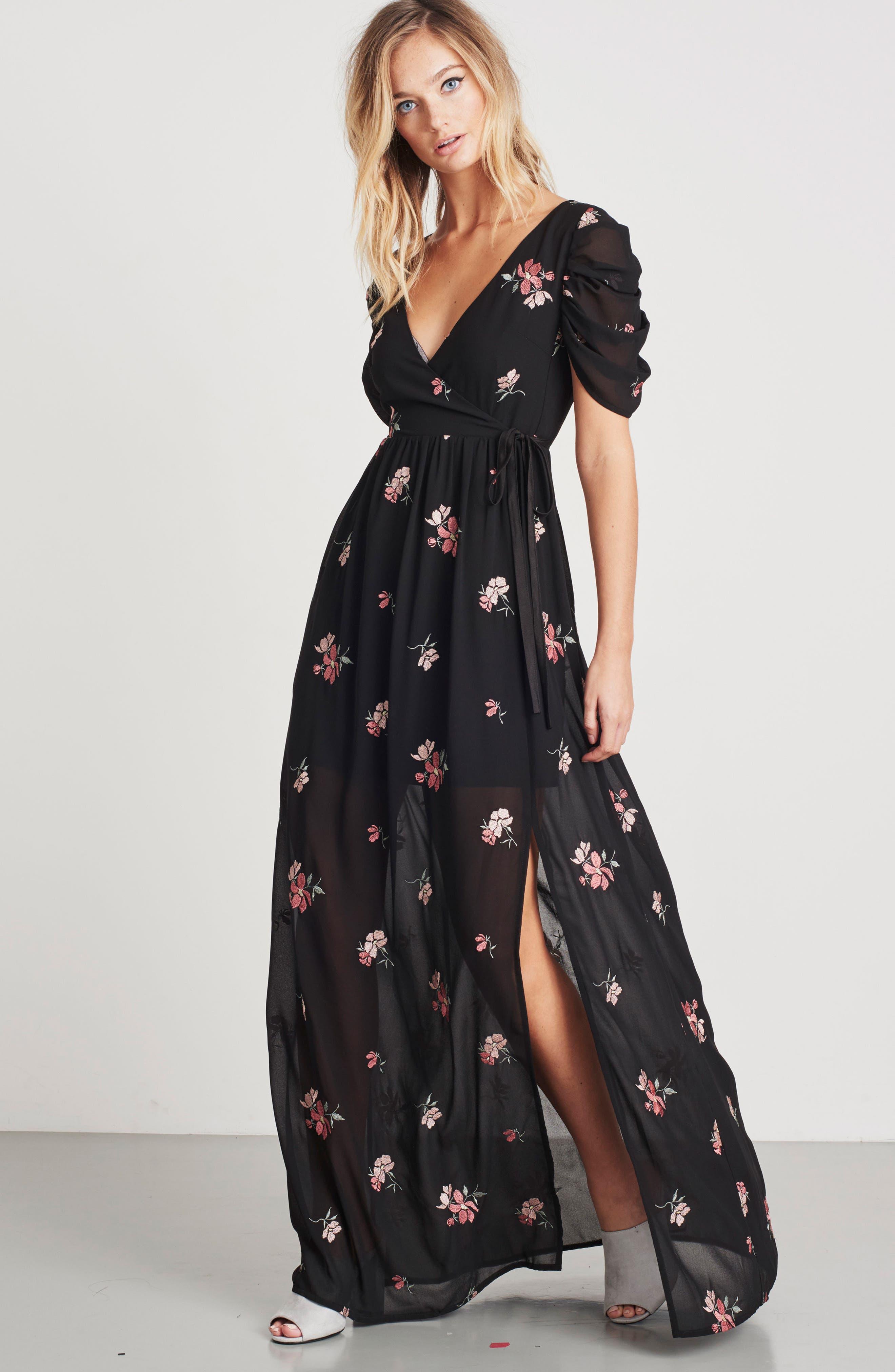 Floral Embroidered Wrap Midi Dress,                             Alternate thumbnail 8, color,                             BLACK