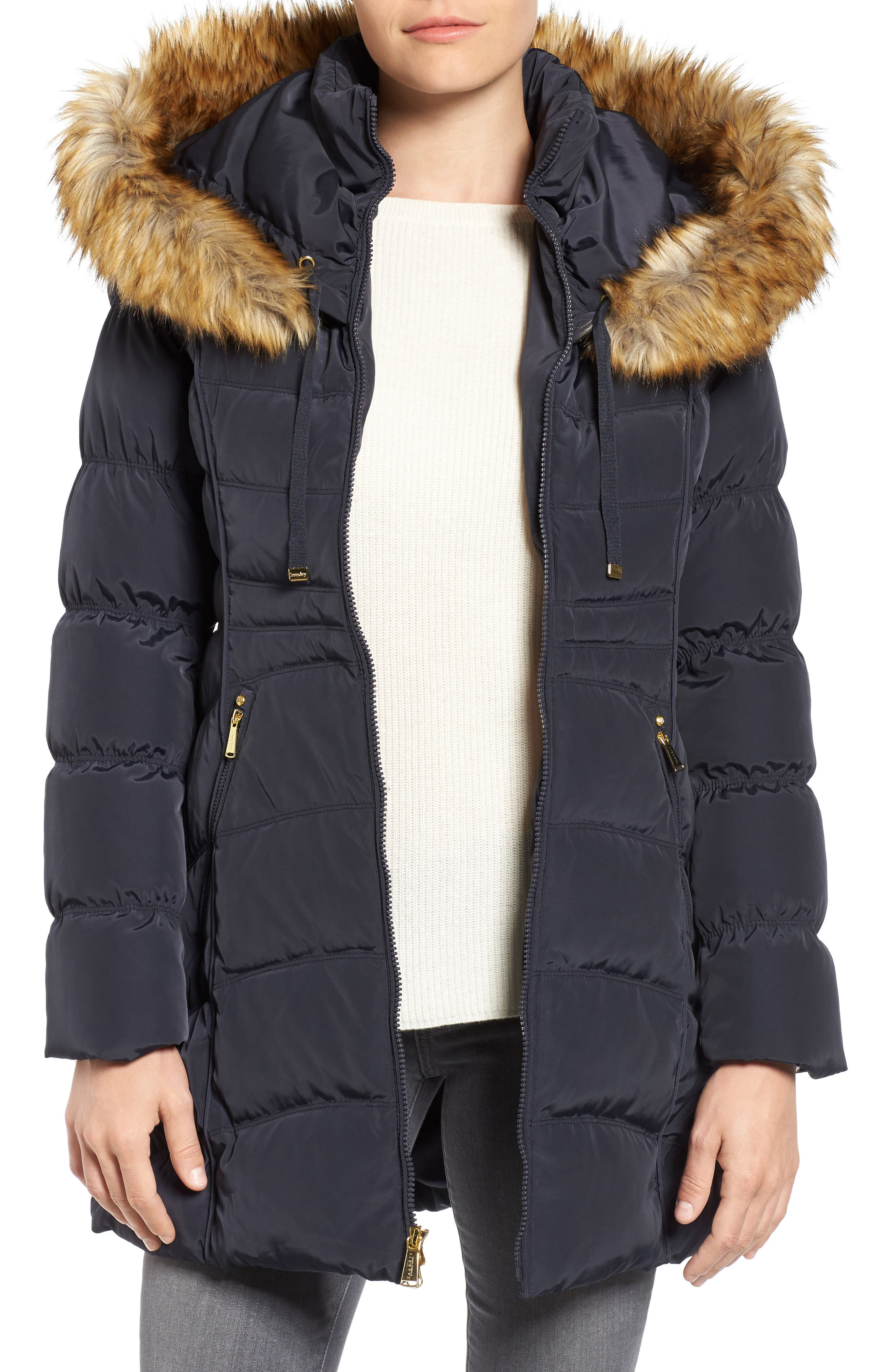 Hooded Down & Feather Fill Coat with Detachable Faux Fur Trim,                             Main thumbnail 1, color,                             454