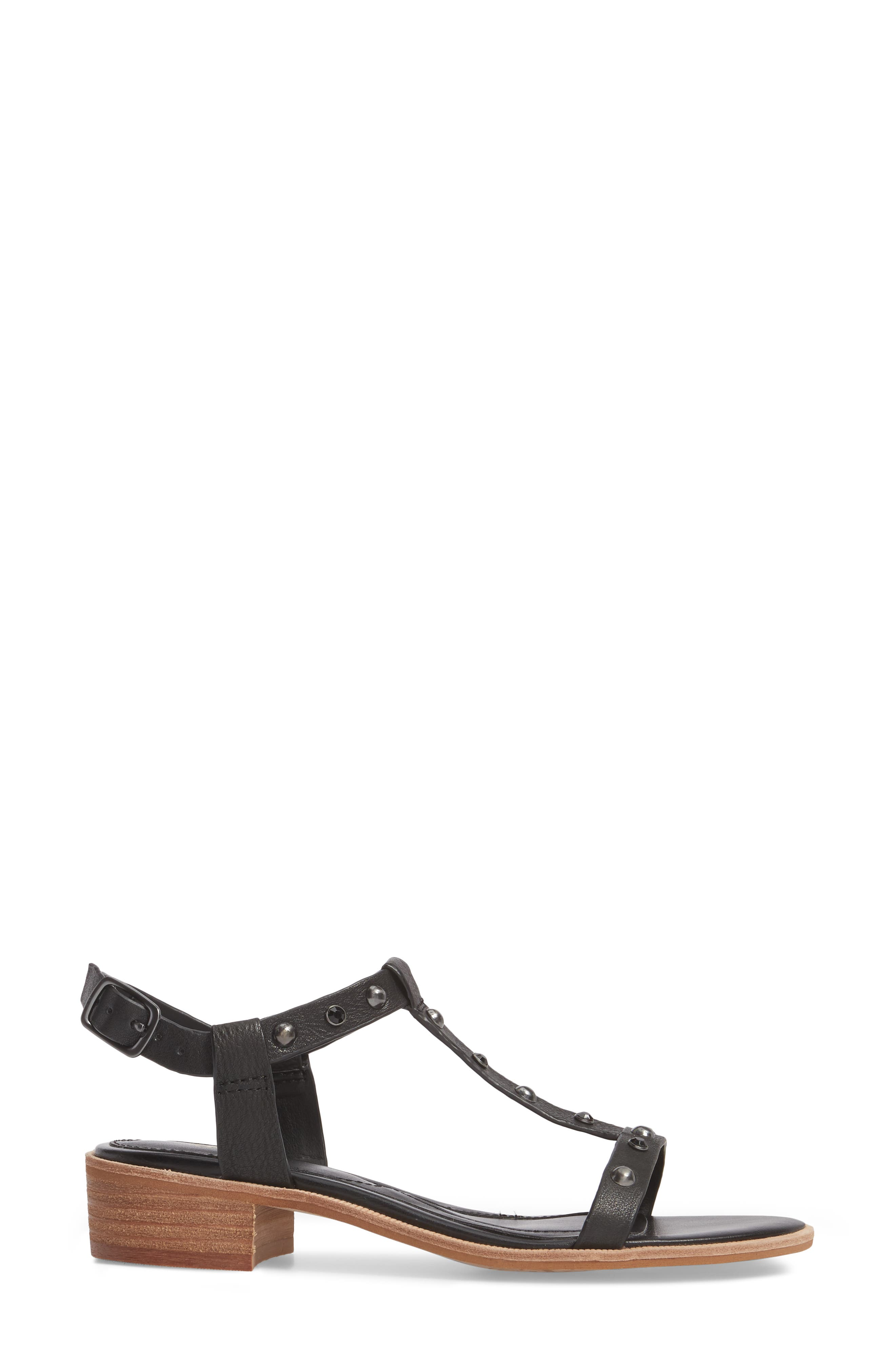 Giana Studded Sandal,                             Alternate thumbnail 3, color,                             BLACK LEATHER