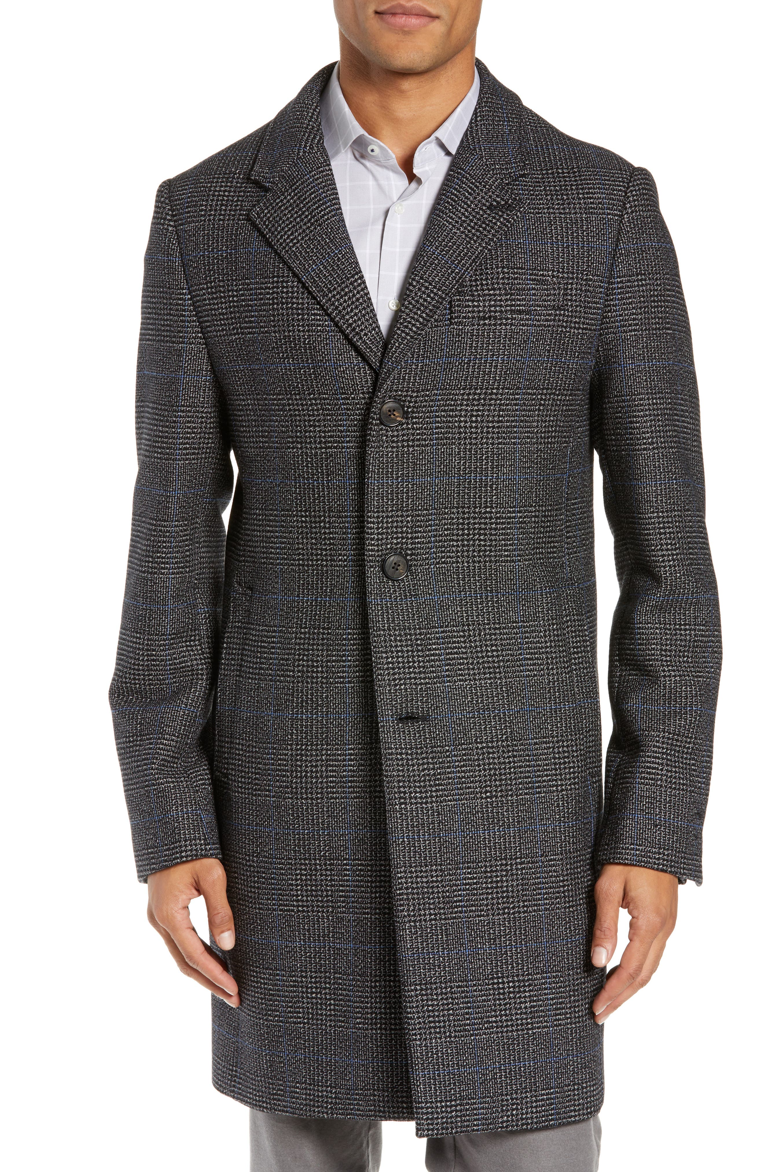 Plaid Stretch Wool & Cotton Overcoat,                             Alternate thumbnail 4, color,                             CHARCOAL