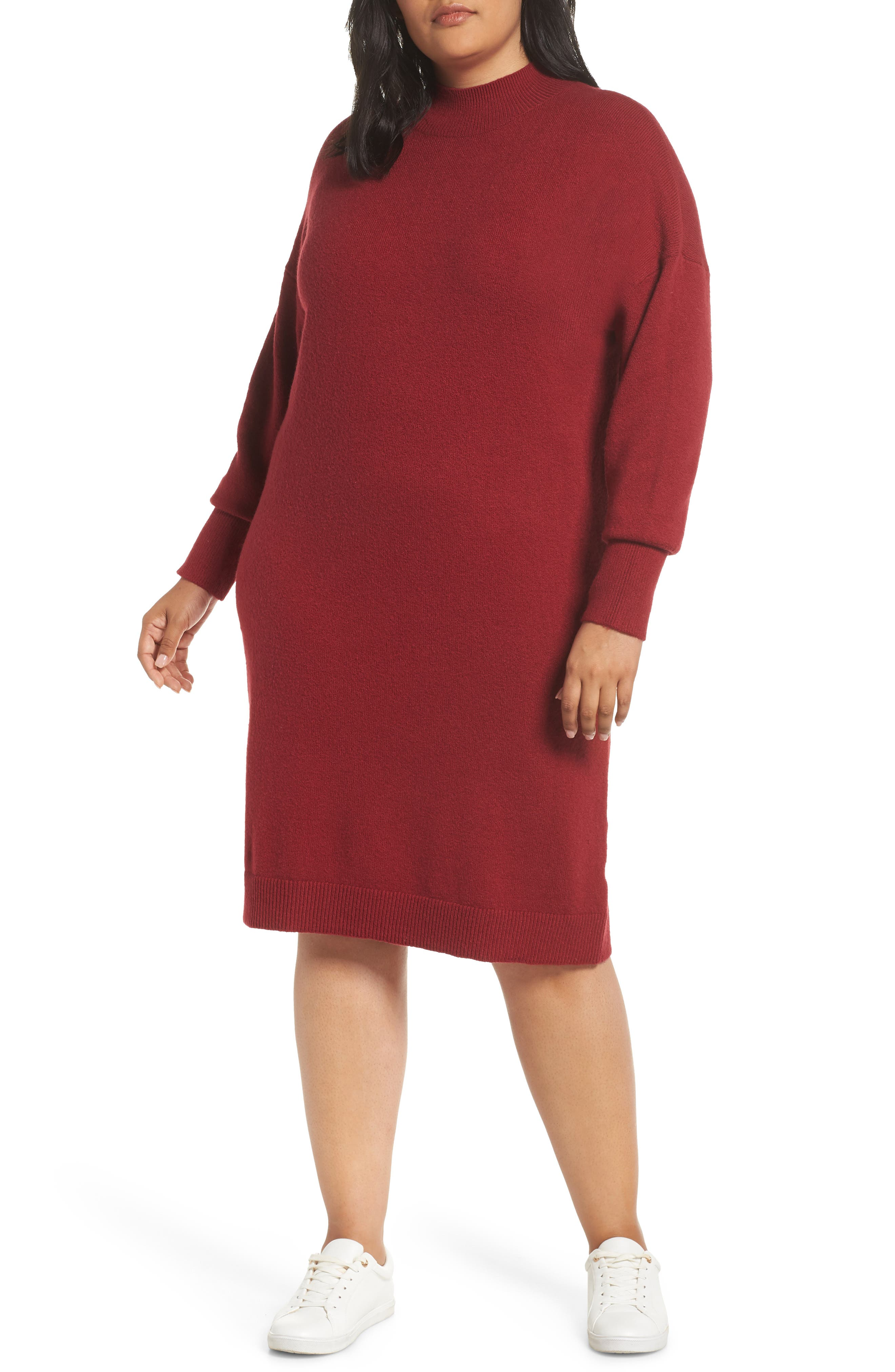 Mock Neck Sweater Dress, Main, color, RED TIBETAN