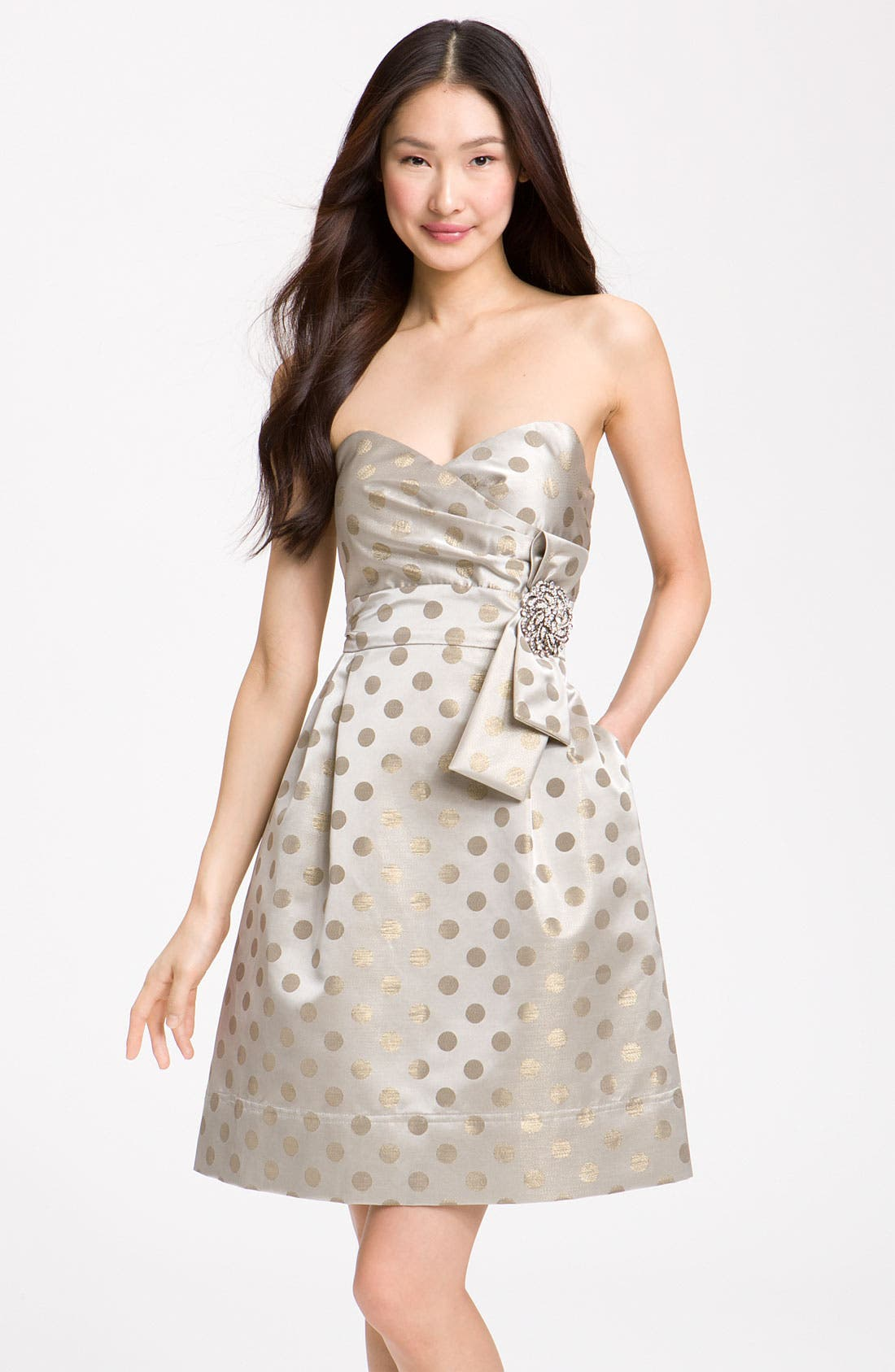 Embellished Strapless Metallic Satin Dress,                             Main thumbnail 1, color,