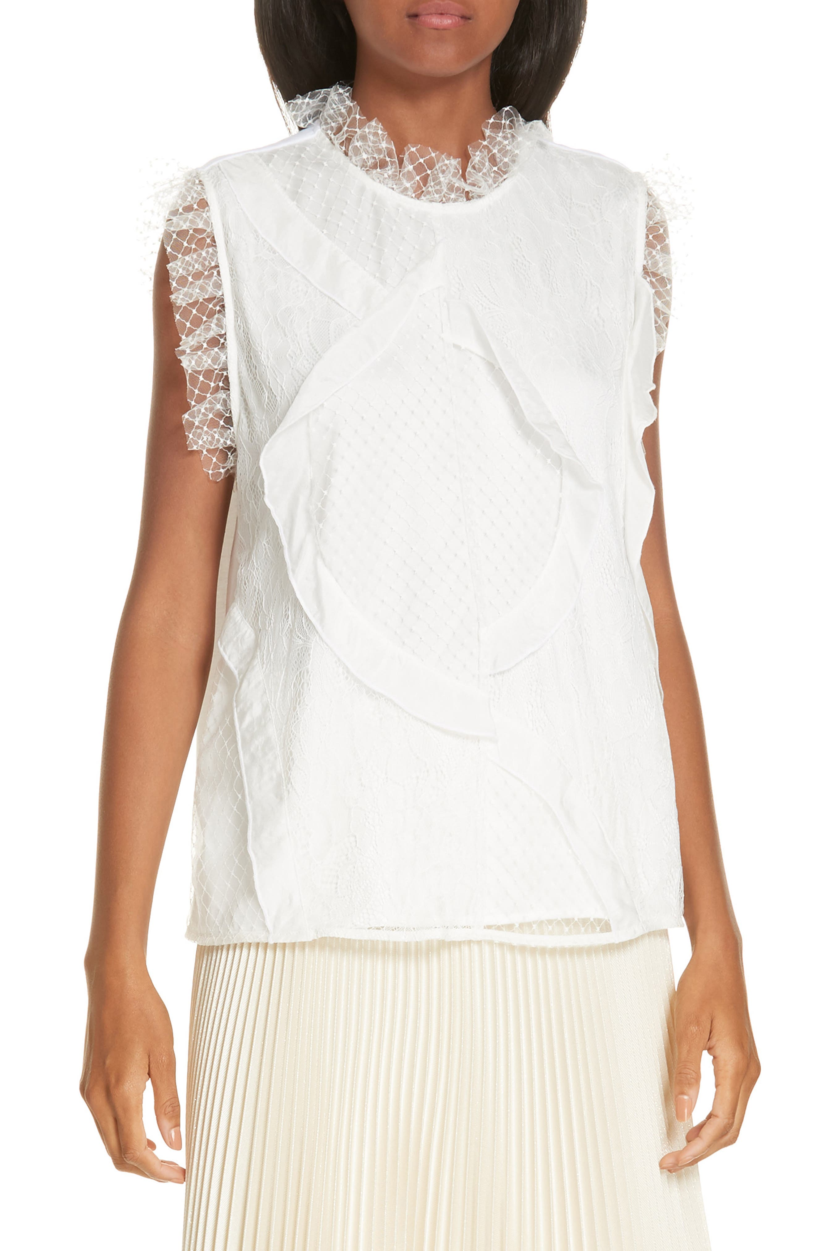 Paneled Mix Lace Sleeveless Top,                         Main,                         color, WHITE