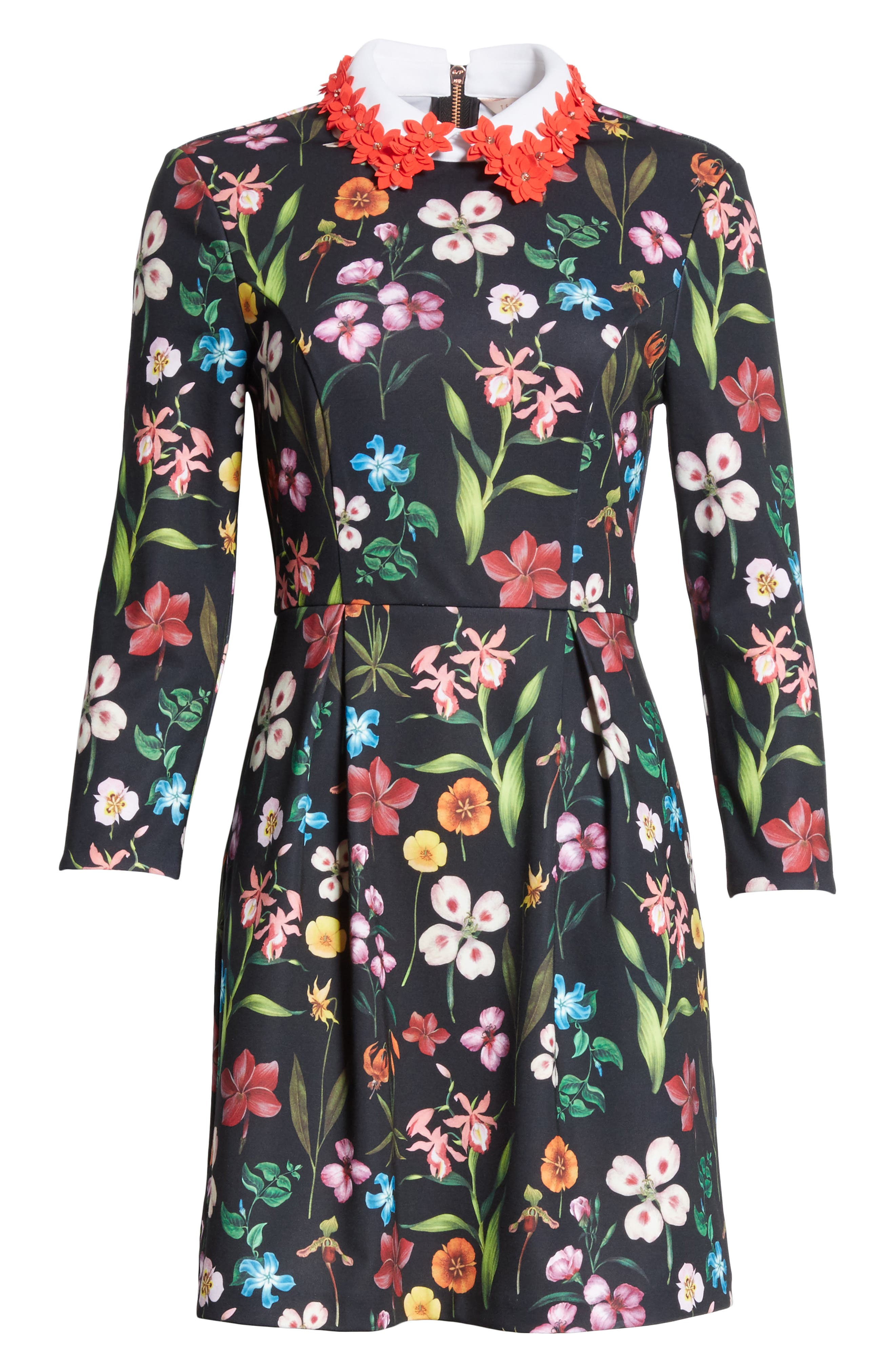 Hampton Embellished Collar Floral Dress,                             Alternate thumbnail 6, color,