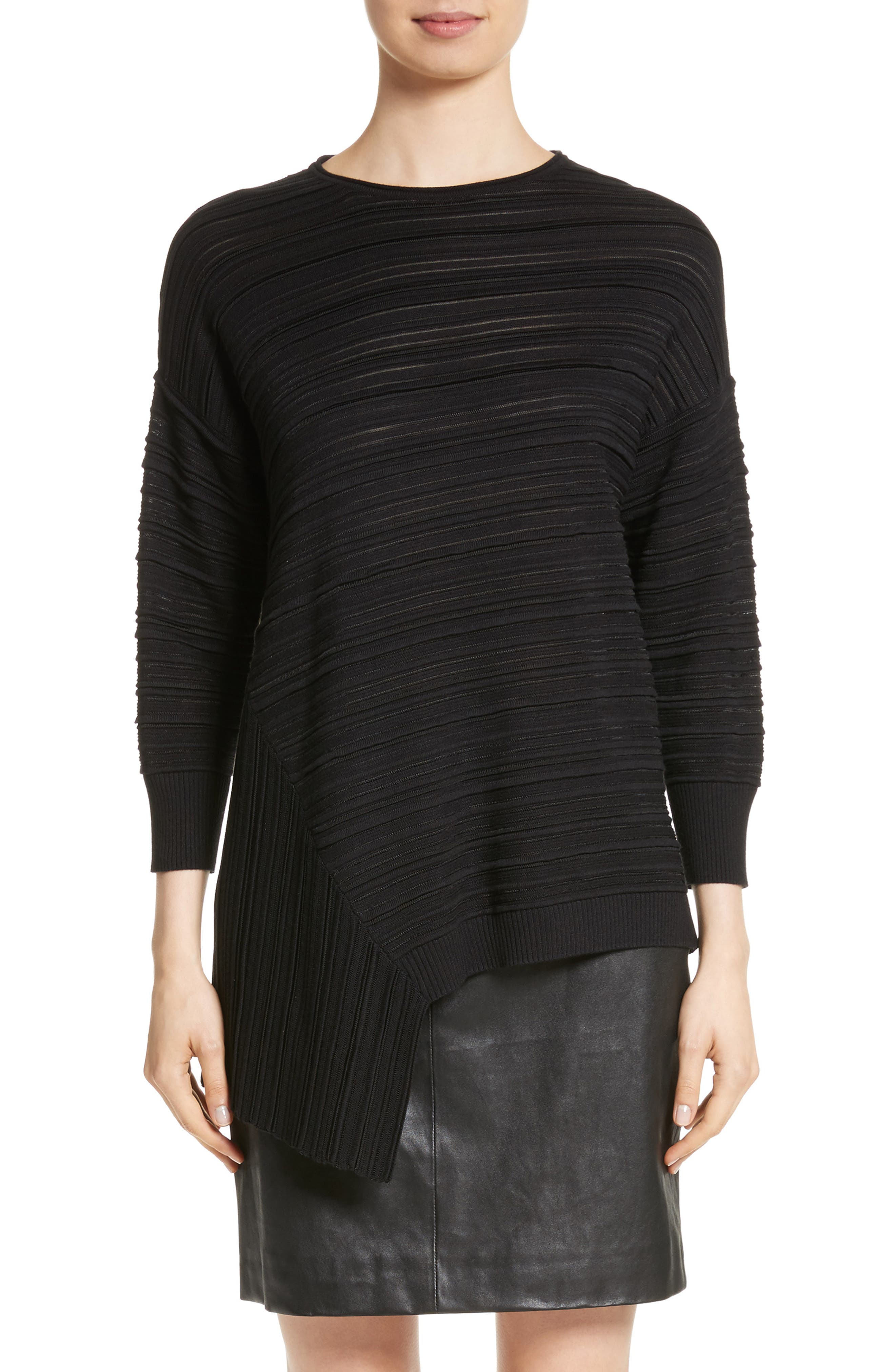 Knit Asymmetrical Sweater,                         Main,                         color, CAVIAR